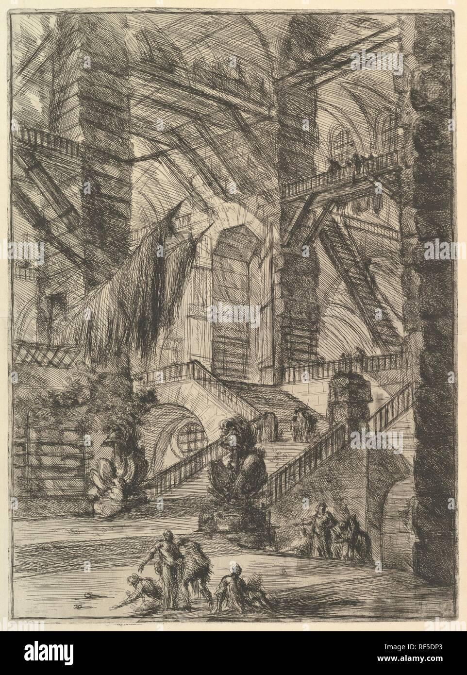 Die Treppe mit Trophäen, von Carceri d'invenzione (imaginäre Gefängnisse). Artist: Giovanni Battista Piranesi (Italienisch, Mogliano Veneto Rom 1720-1778). Maße: Blatt: 25 x 19 cm. (63,5 x 49,5 cm) Platte: 21 1/2 x 15 3/4 in. (54,6 x 40 cm). Herausgeber: Giovanni Bouchard (Französisch, Ca. 1716-1795). Serie/Portfolio: Carceri d'invenzione. Datum: Ca. 1749-50. Museum: Metropolitan Museum of Art, New York, USA. Stockfoto