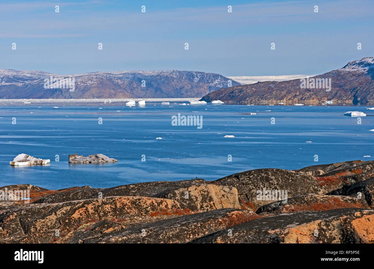In arktischen Gewässern an der Grönländische Eisschild in der Nähe von Equip Sermia Stockbild