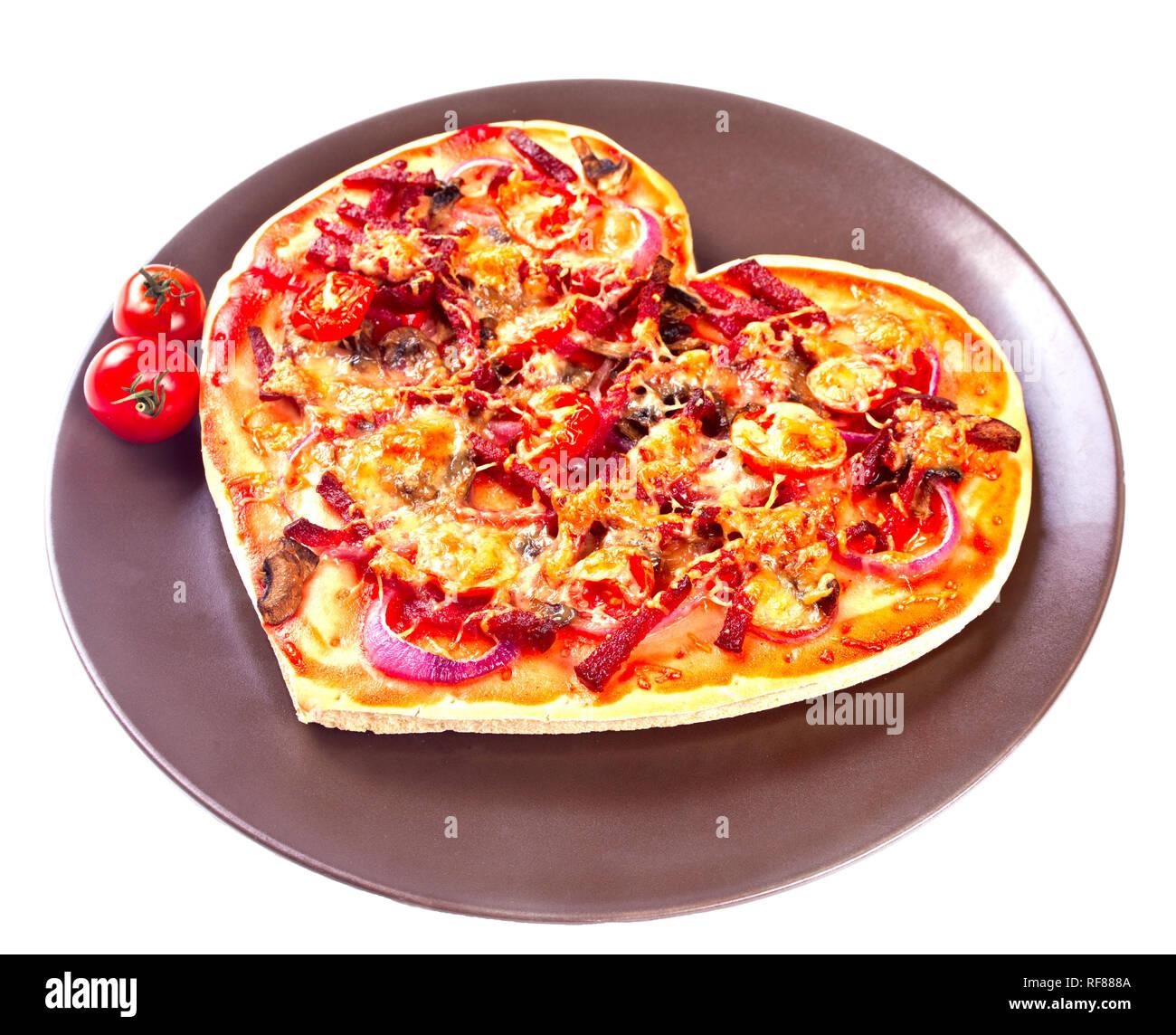 Pizza In Der Form Von Herzen Zum Valentinstag Stockfoto Bild