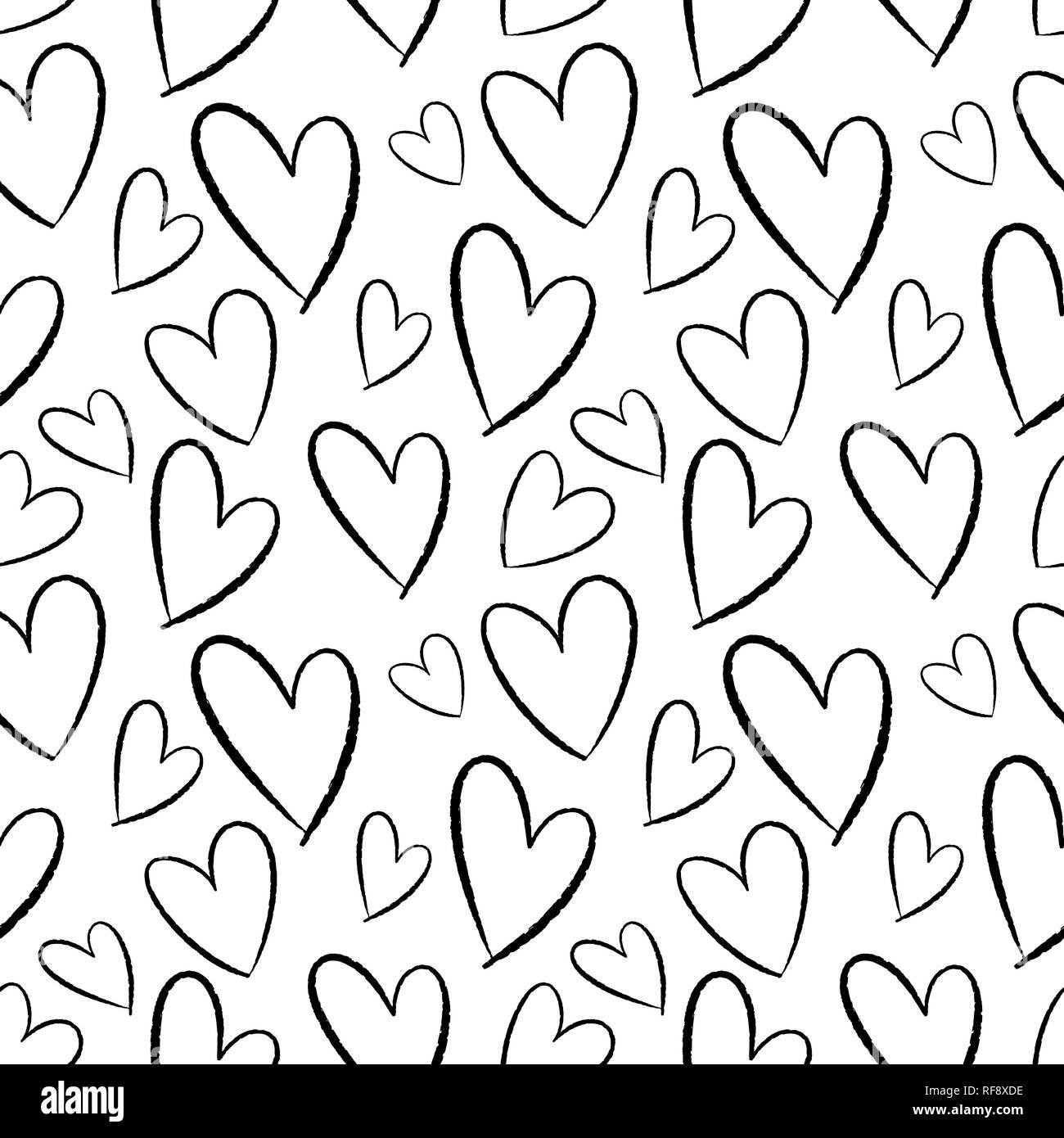 Nahtlose Muster von Hand gezeichnete Herzen. Hintergrund für Karten, Papiere, Stoffe, Tapeten, Dekoration, Werbebanner, Poster, Broschüren. Vektor illustra Stock Vektor