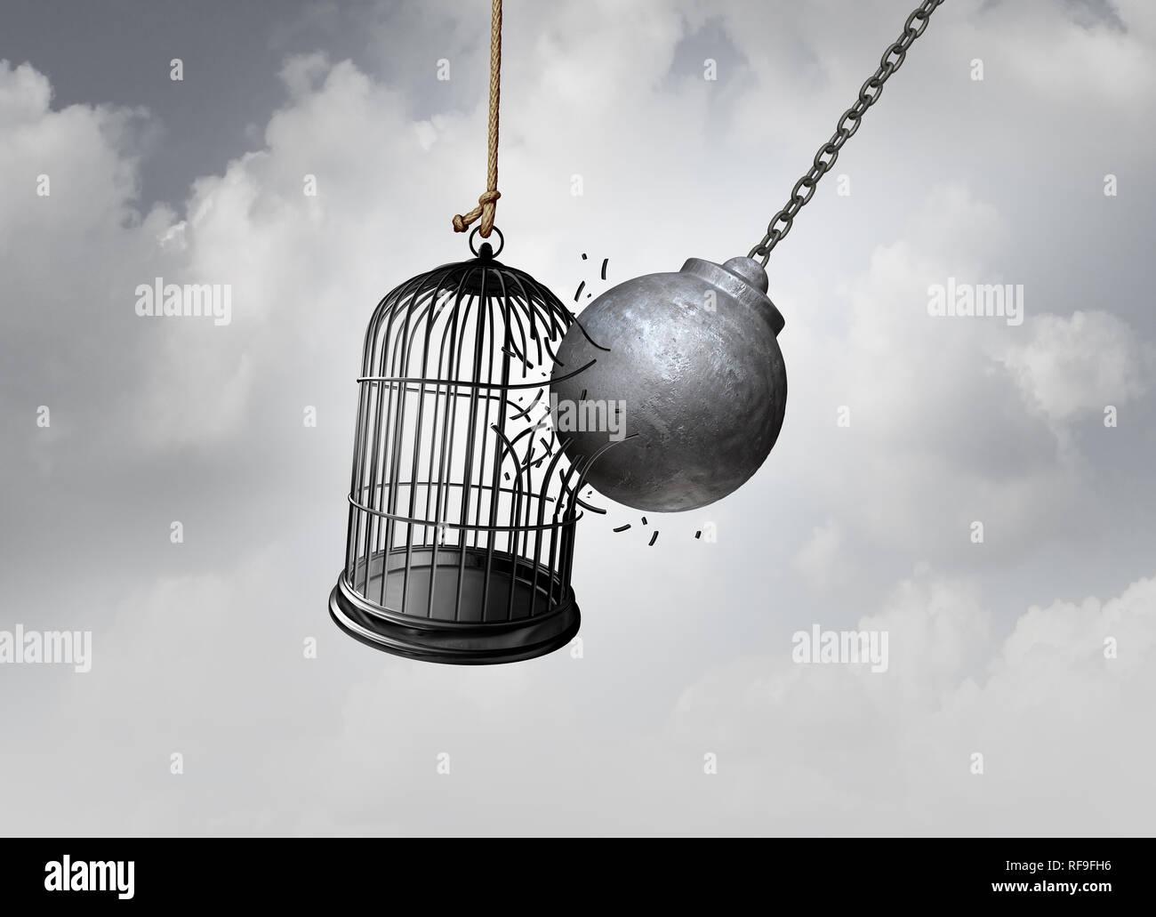 Freedom Cage und kostenfreie Konzept wie eine Abrissbirne befreiende einem Vogelkäfig Aufbrechen ein Gefängnis als abstrakte Idee des austretenden eine Neigung zu brechen. Stockbild