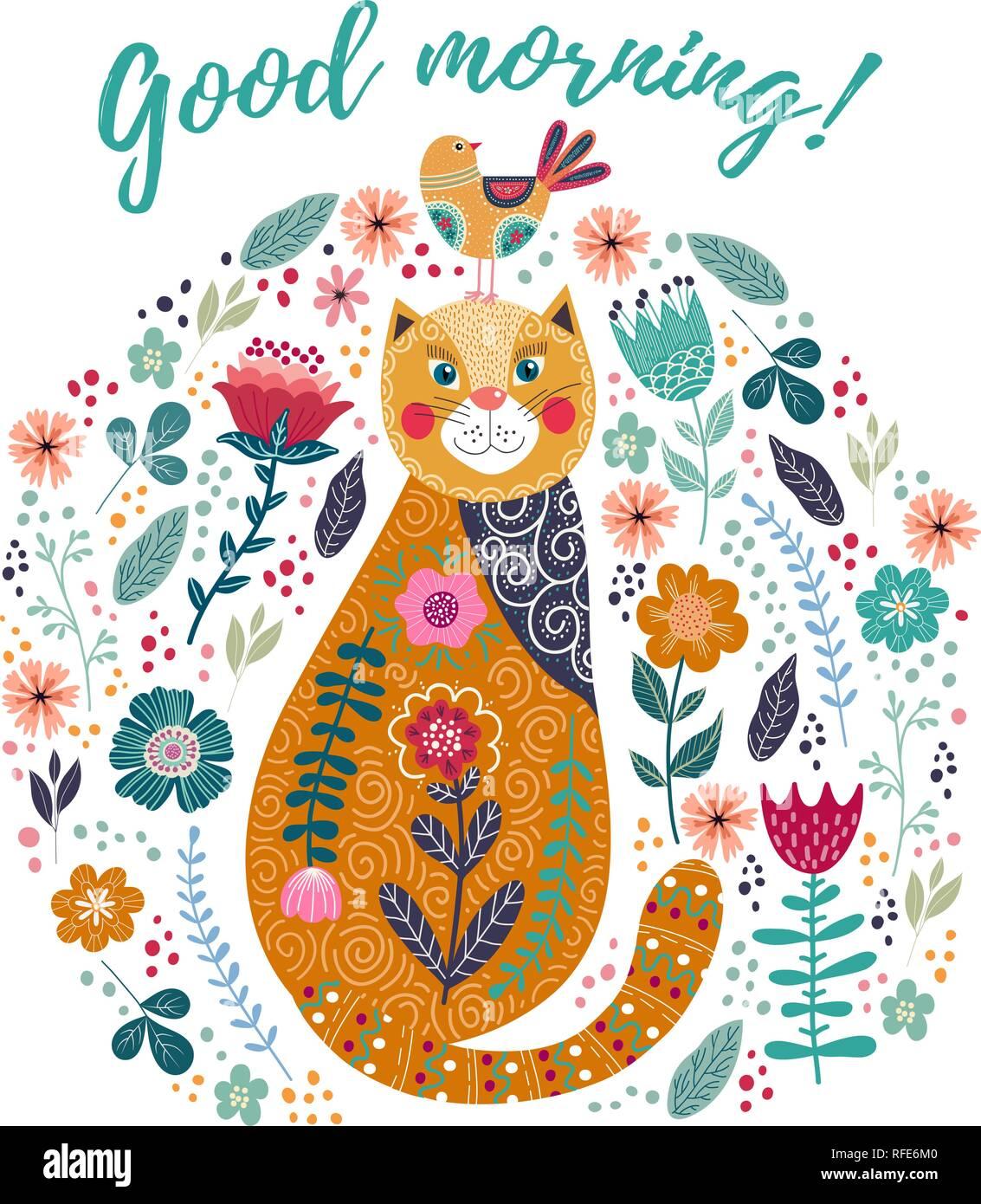 Guten Morgen Kunst Vektor Bunte Illustration Mit Süße Katze