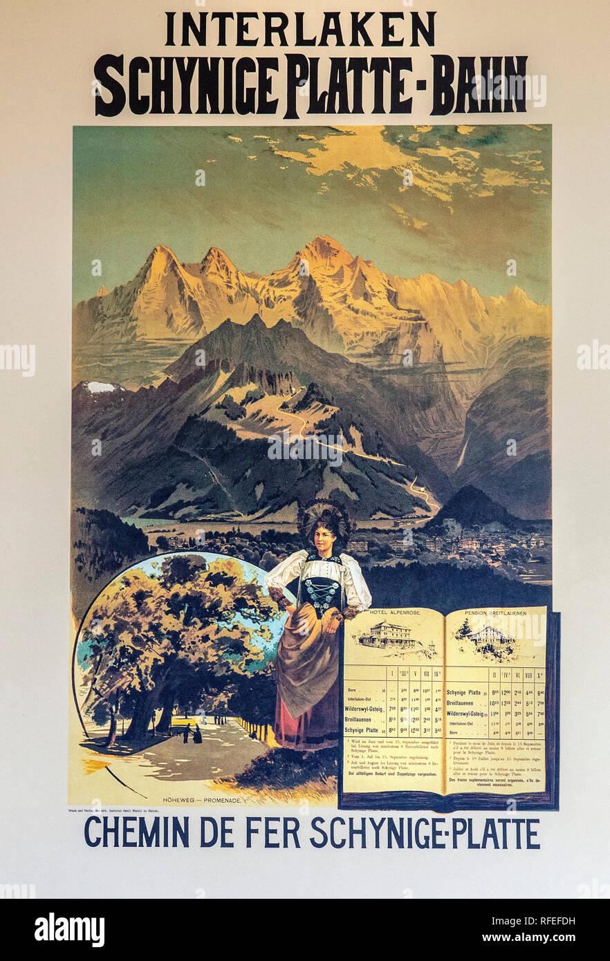 Schweiz, Alpen, Berner Oberland, Frühling. Wilderswil, Schynige Platte. Vintage zur Förderung des Tourismus. Zug Poster. Stockfoto