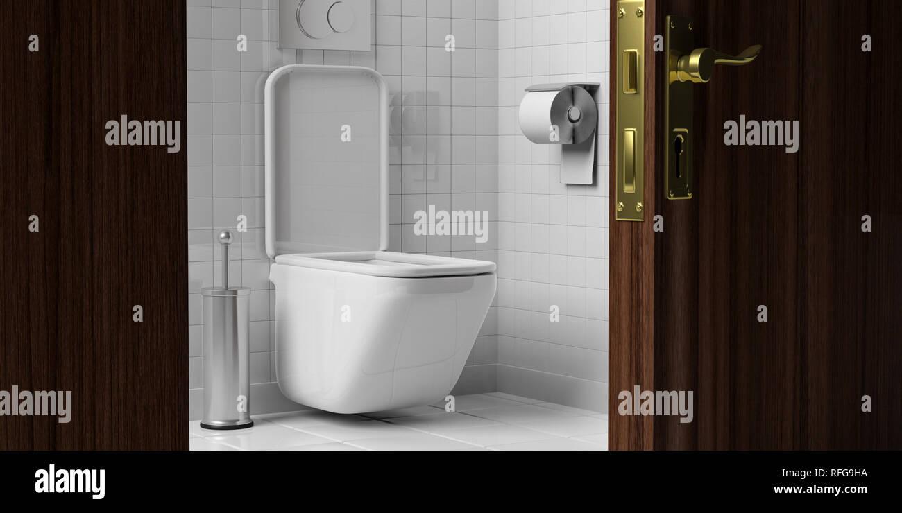 WC, Toilette. Weiß wc-Schüssel und Zubehör auf Fliesen für Wand und ...