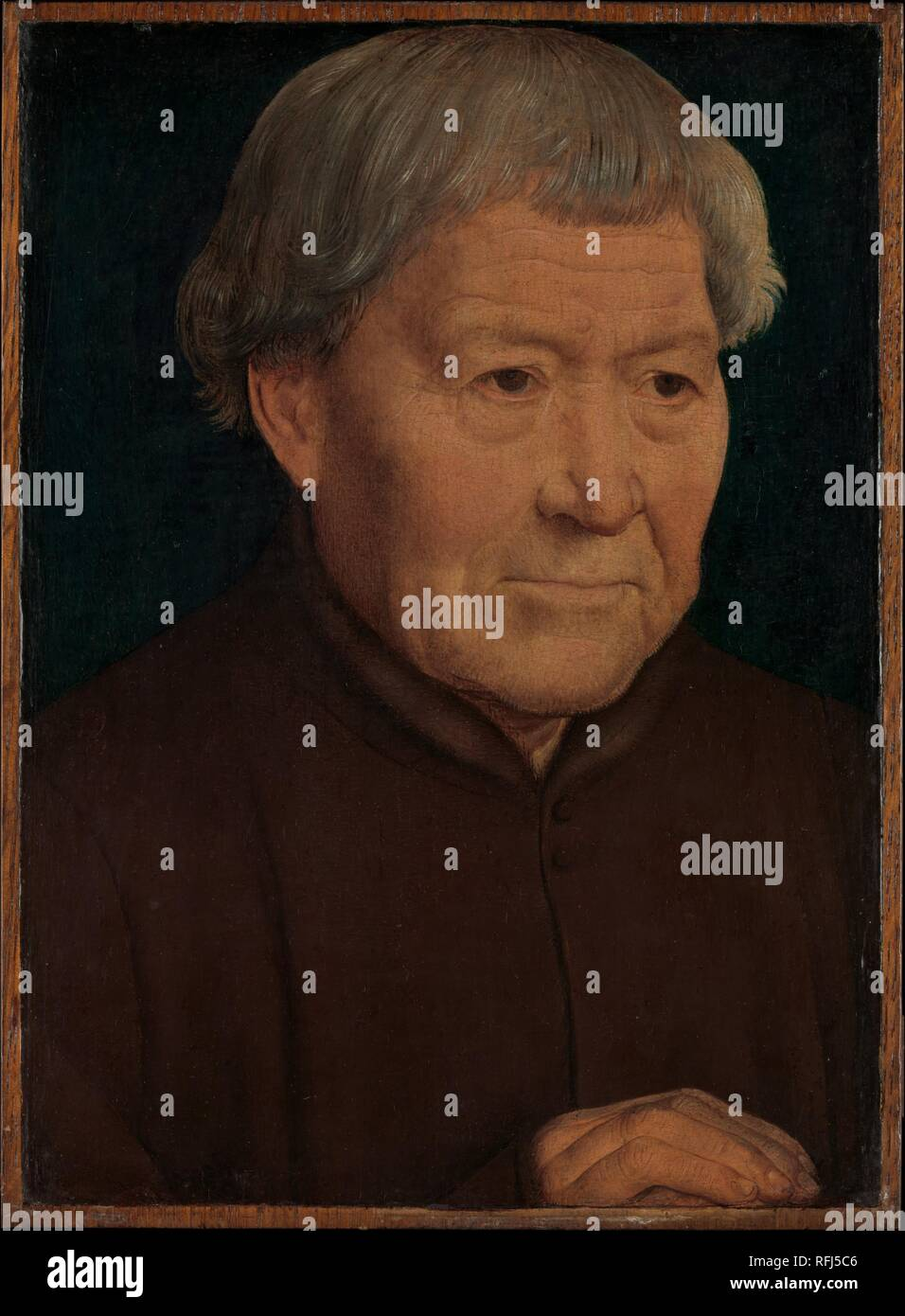 """Hans Memling (Niederländischen, Seligenstadt, aktiv von 1465 â ? """"starb 1494 Brügge) Porträt eines alten Mannes, Ca. 1475, Öl auf Holz; insgesamt 10 3/8 x 7 5/8 in. (26,4 x 19,4 cm); Oberfläche lackiert 10 x 7 1/4 in. (25,4 x 18,4 cm) das Metropolitan Museum of Art, New York, Vermächtnis von Benjamin Altman, 1913 (14.40.648) http://www.metmuseum.org/Collections/search-the-collections/437055 Stockbild"""