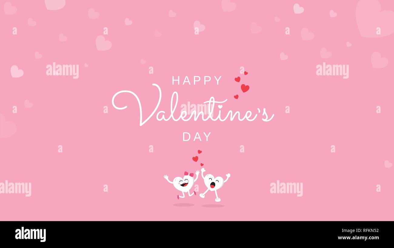 Happy Valentine's Day Grußkarte Kalligrafie Handschrift mit Liebe Herz und niedliche Comicfigur auf rosa Hintergrund. Vector Illustration Banner, Stockbild