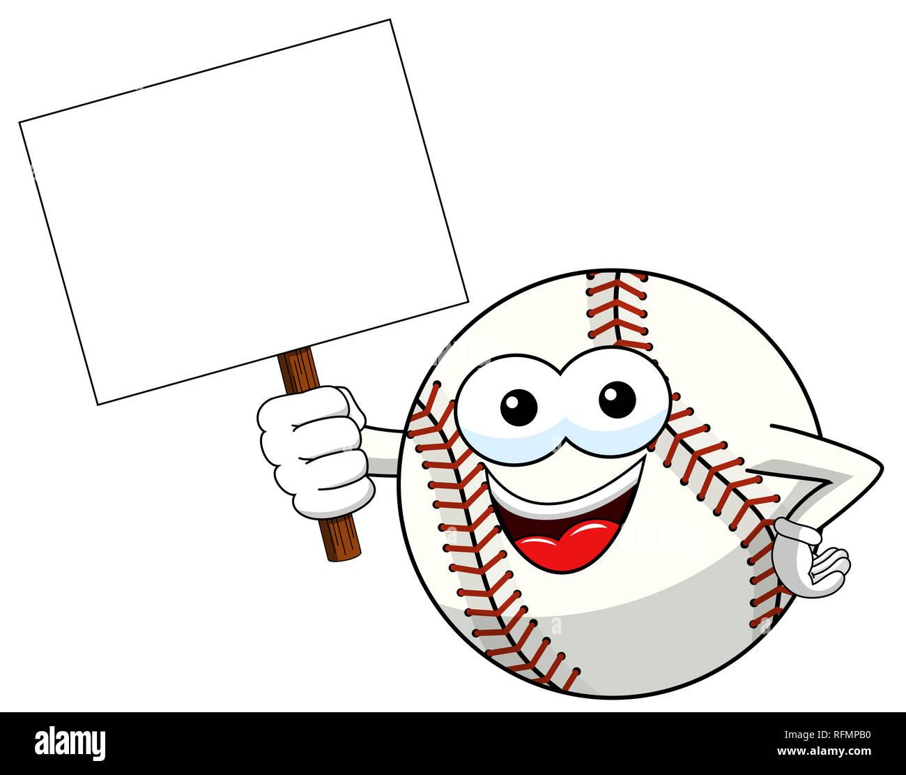 Baseball ball Charakter Maskottchen Karikatur Holding leer banner Vektor isoliert auf weißem Stockbild