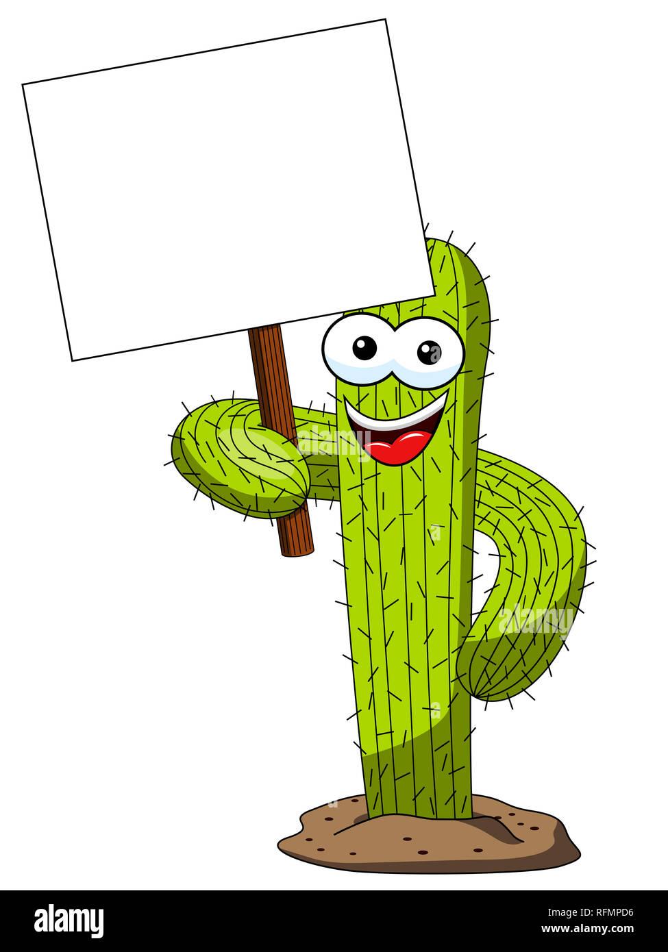 Cactus Charakter Maskottchen Karikatur Holding leer banner Vektor isoliert auf weißem Stockbild