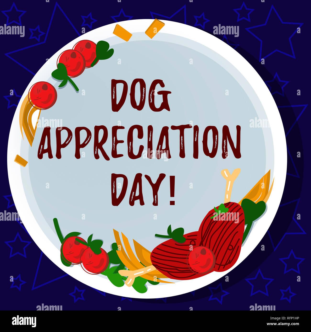 Wort schreiben Text Hund Anerkennung Tag. Business Konzept für einen Tag ihr bester Freund auf vier Beinen Hand gezeichnet Lammkoteletts Kraut Gewürz Cherry zu schätzen Stockbild