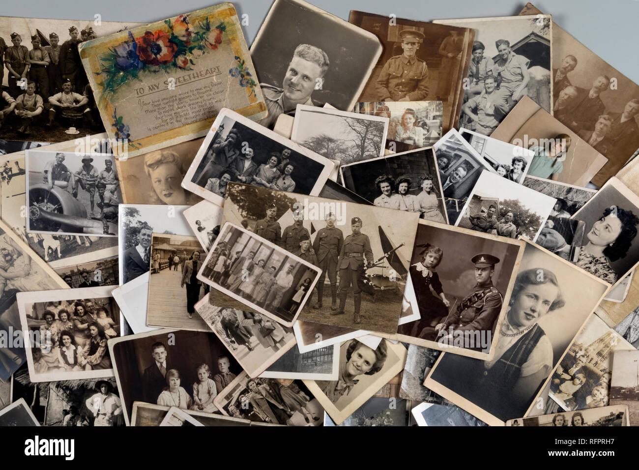 Genealogie - Familie Geschichte - alte Familienfotos aus der Zeit um 1890 bis etwa 1950. Stockbild
