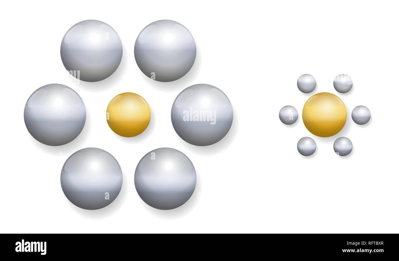 Ebbinghaus Illusion mit goldenen und silbernen Kugeln. Optische Illusion der relativen Größe der Wahrnehmung. Stockbild