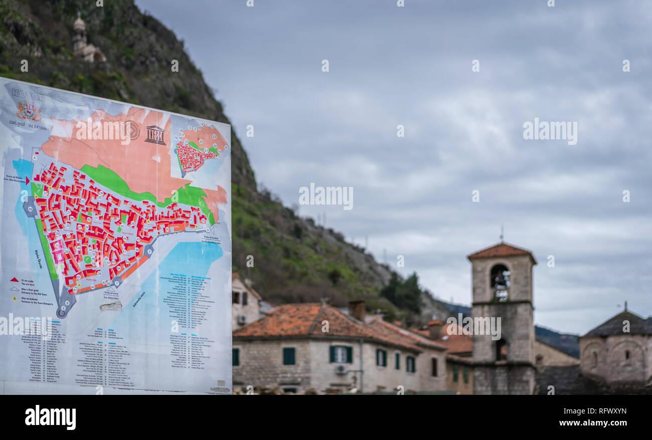 Kotor Montenegro Karte.Kotor Montenegro April 2018 Karte Von Kotor Altstadt Mit