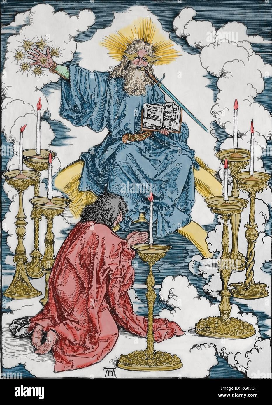 St. John Vision von Christus und die 7 Kerzenhalter. Apokalypse. Holzschnitt von Albrecht Dürer. 1498. Stockbild