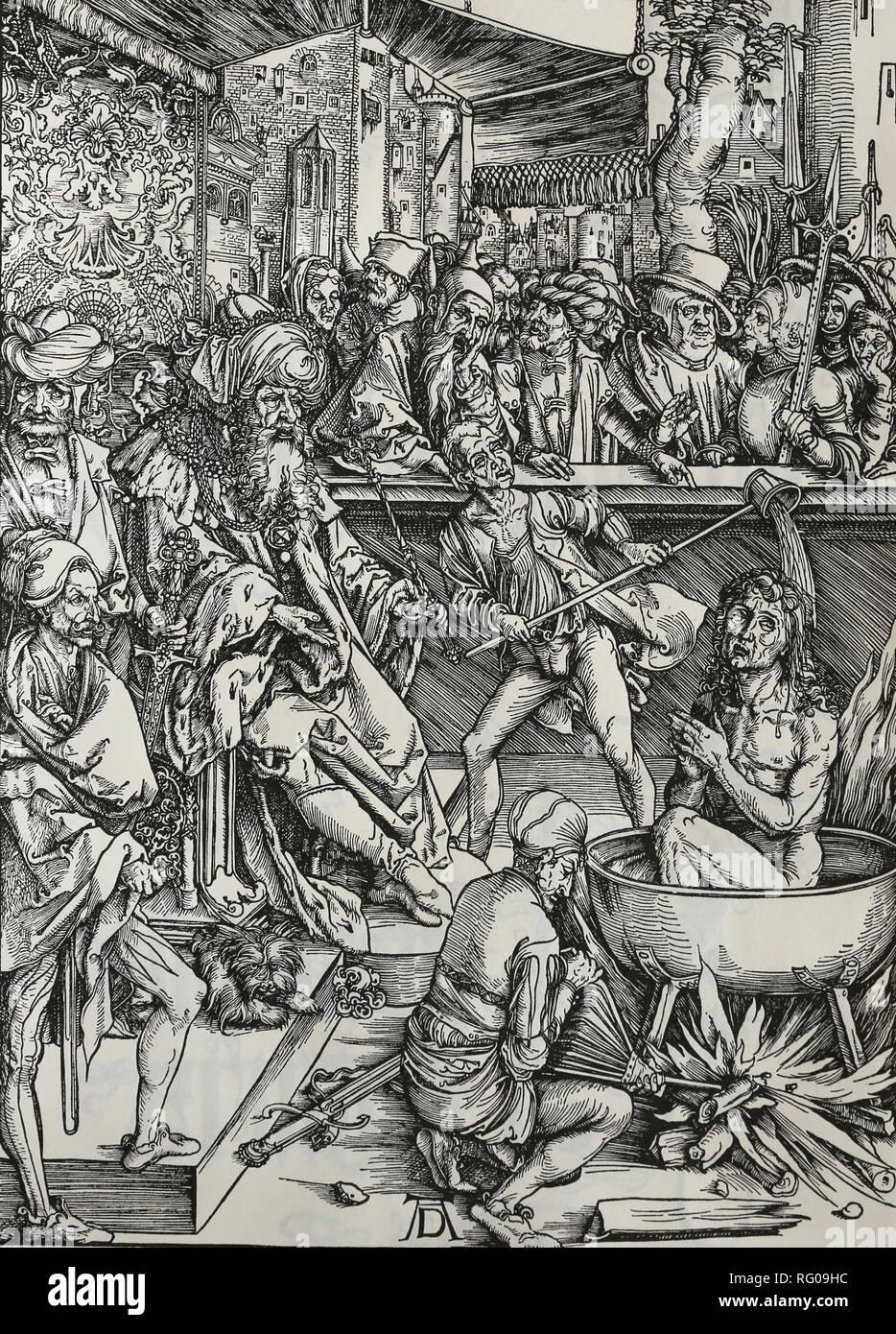 St. Johannes Evangelist gefoltert in einem Bottich mit kochendem Öl. Apokalypse. Holzschnitt von Albrecht Dürer. 1498. Stockbild