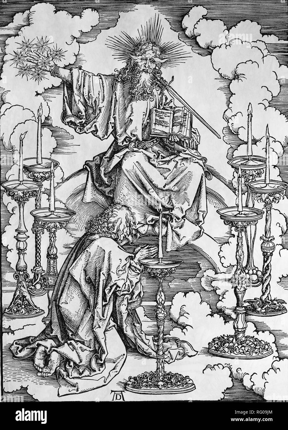 St. John Vision von Christus und die 7 Kerzenhalter. Apokalypse. Holzschnitt von Albrecht Dürer. 1498 Stockbild