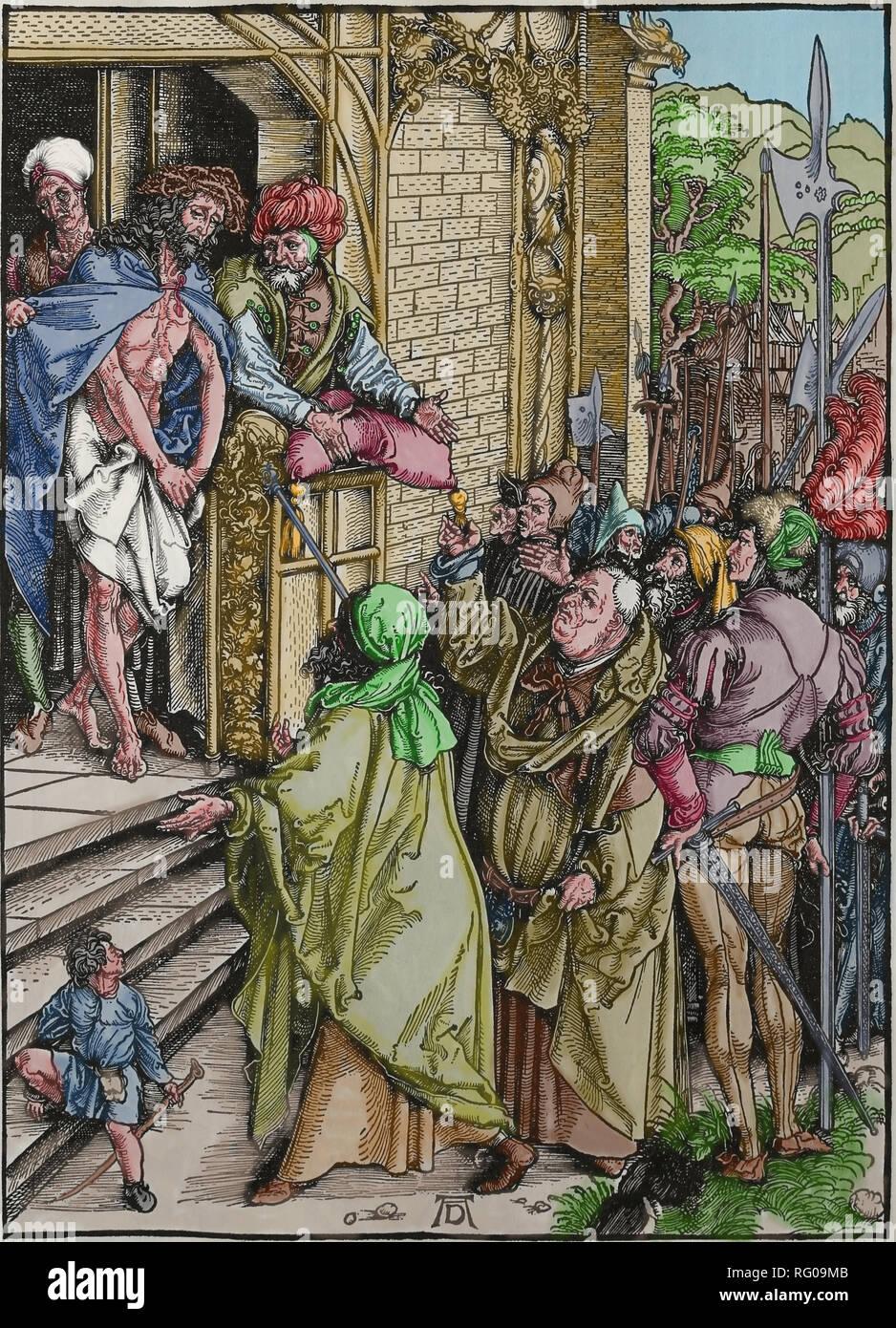 Die große Leidenschaft. 1497-1500. Christus vor den Menschen. Kupferstich von Albrecht Dürer. Stockbild