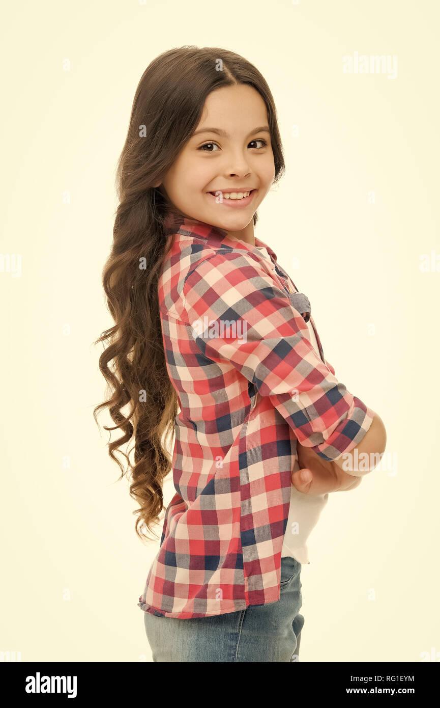 Charmante Cutie Kind Mädchen Lange Lockige Haare Heiter