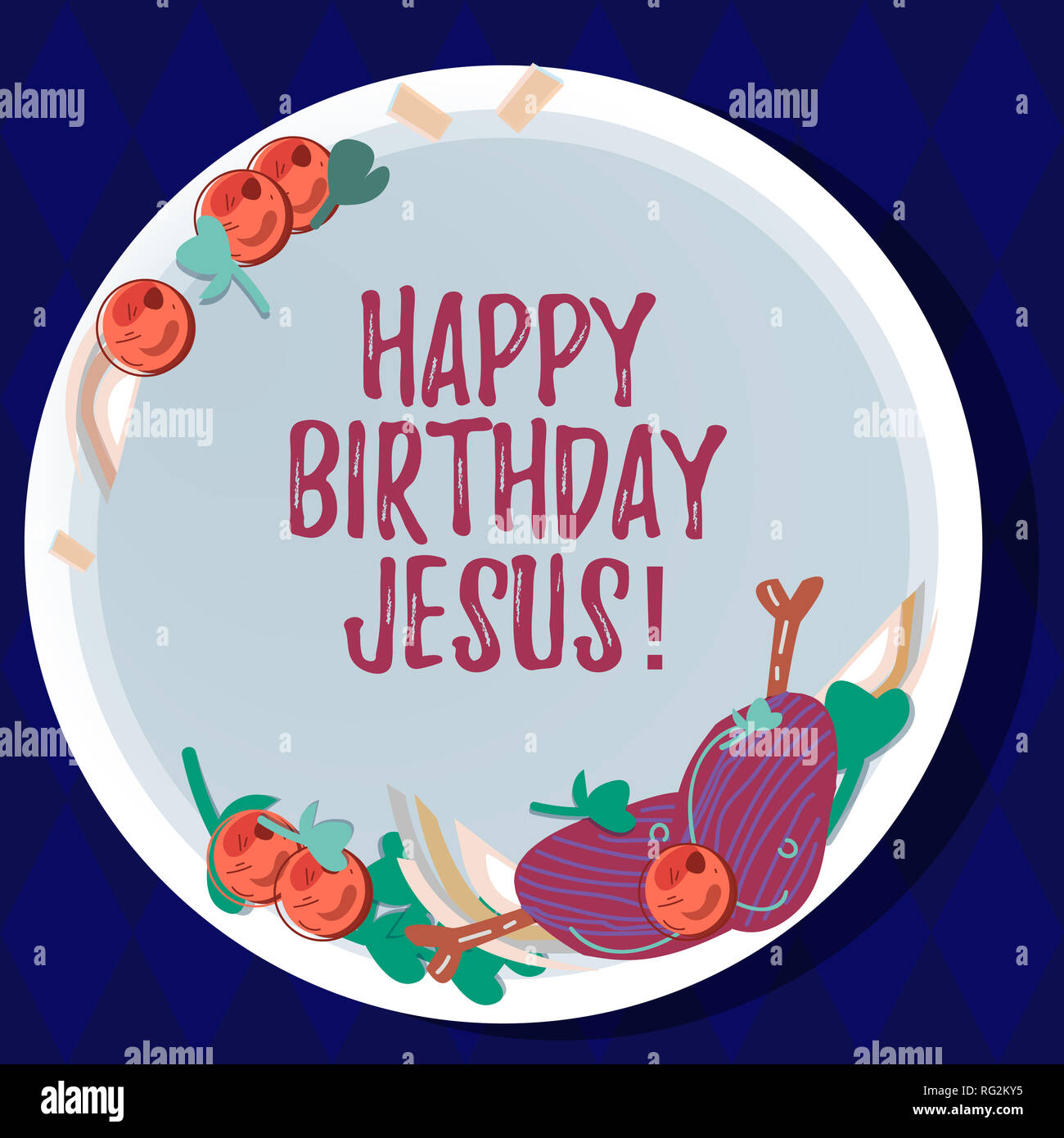 Handschrift Text Happy Birthday Jesus Begriff Sinne Feiert Die Geburt Des Heiligen Gottes Weihnachten Hand Gezeichnet Lammkoteletts Kraut Gewurz Cherry Tom