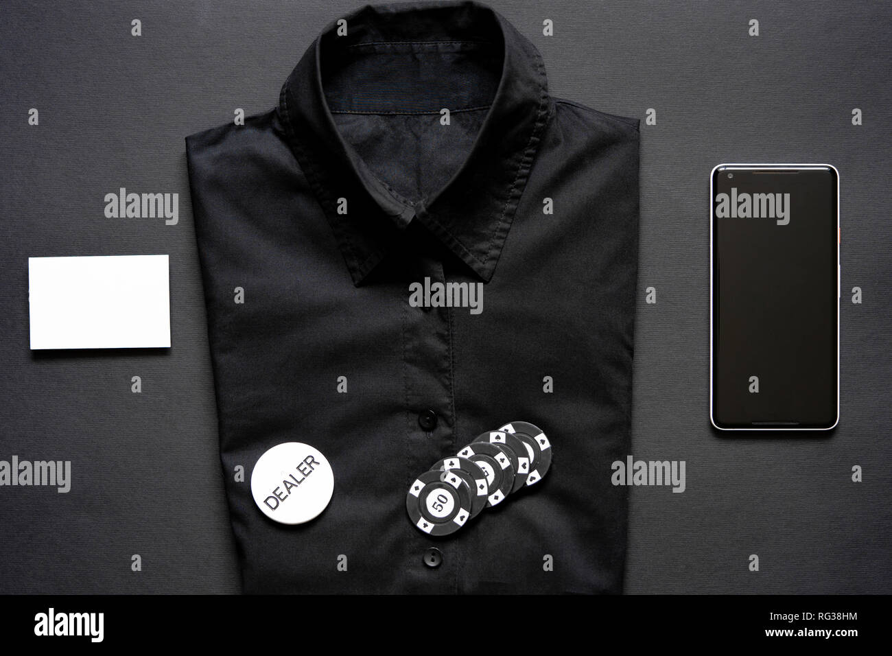 Casino Chips Formale Shirt Leere Visitenkarte Und