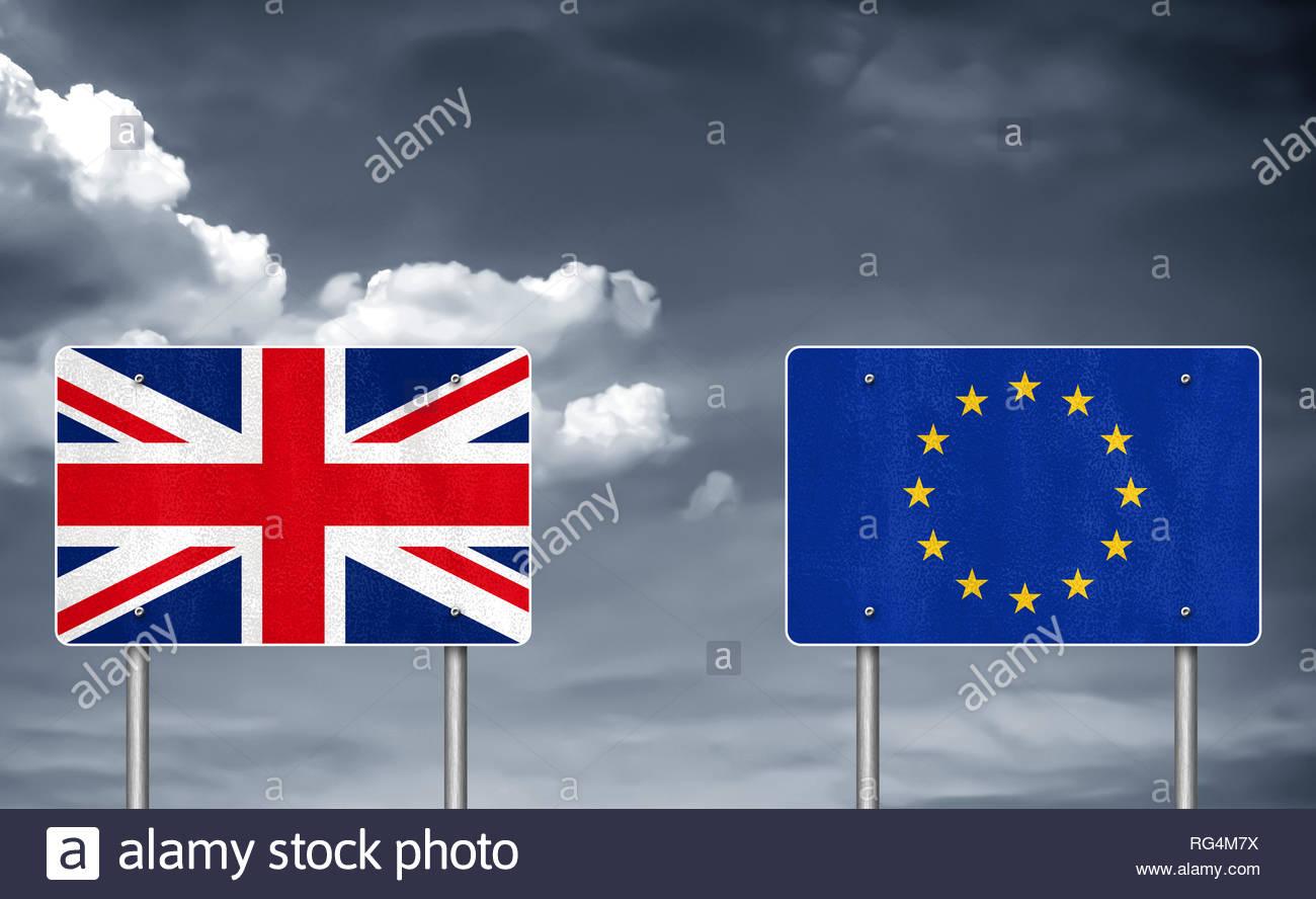 Brexit zwischen dem Vereinigten Königreich und der Europäischen Union Stockbild