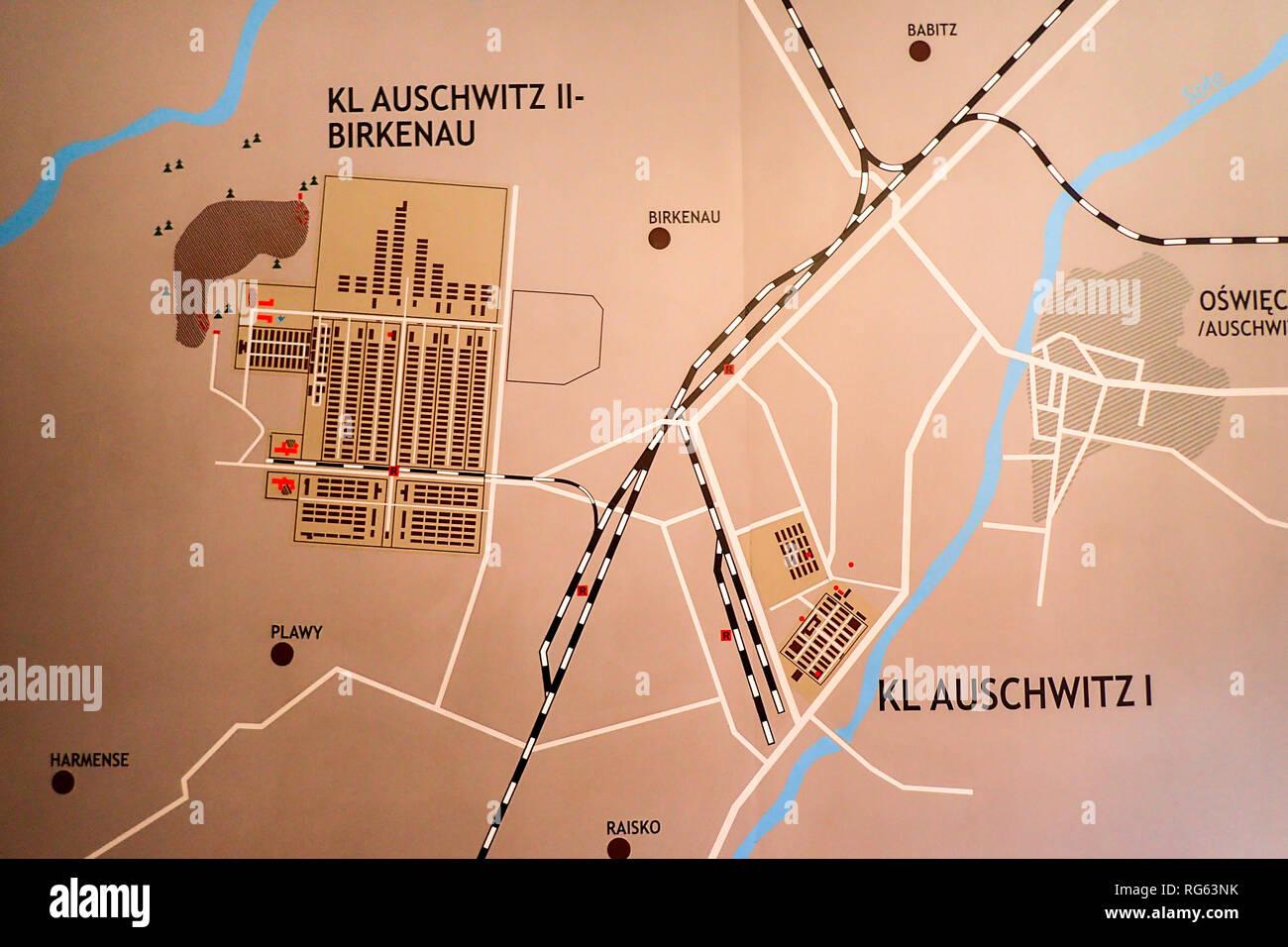 Auschwitz Karte.Auschwitz Birkenau Plan Stockfotos Auschwitz Birkenau Plan Bilder