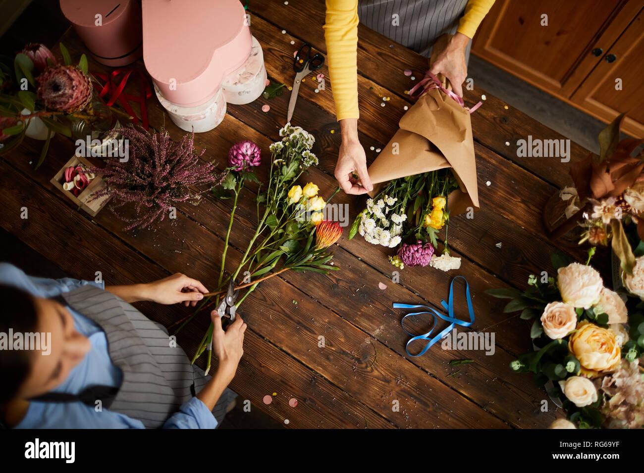 Floristen, Blumensträuße Hintergrund Stockbild