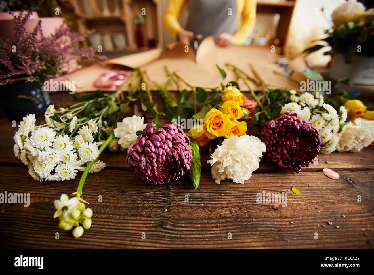Schönen Blumen in Flower Shop Stockbild