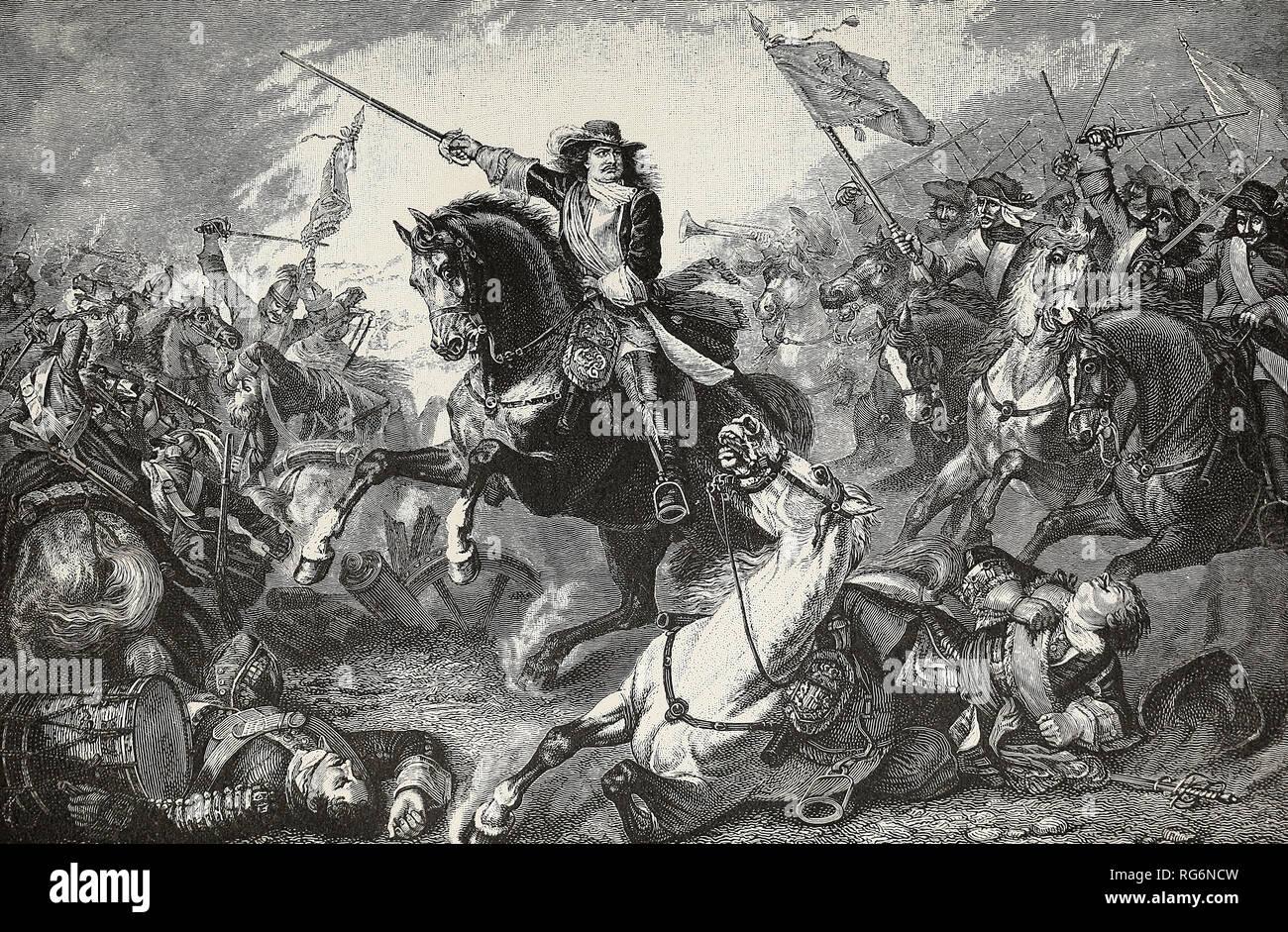 Der Große Kurfürst in Fehrbellin - Friedrich von Brandenburg speichert seine Domain von den Schweden Stockbild