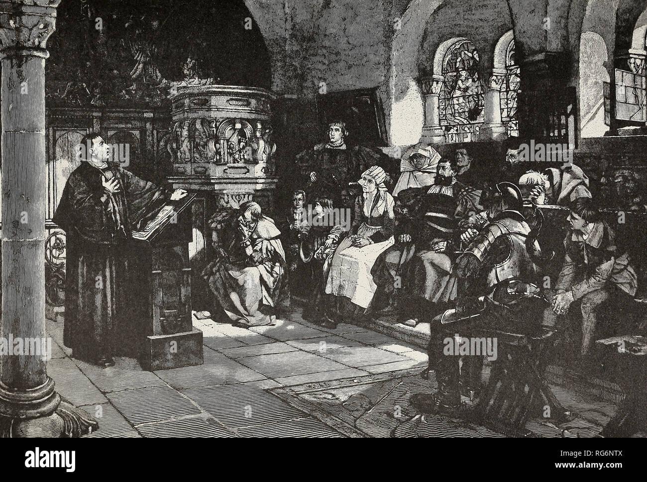 Luther versteckt von seiner Feinde - Luther wohnt und Predigt heimlich auf der Wartburg Stockbild