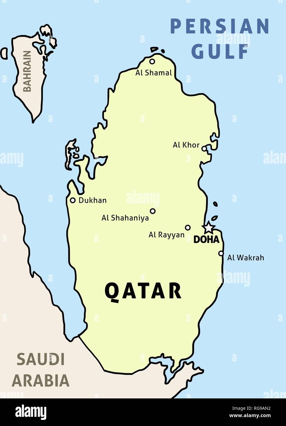 Katar Map Uberblick Abbildung Land Karte Mit Den Wichtigsten