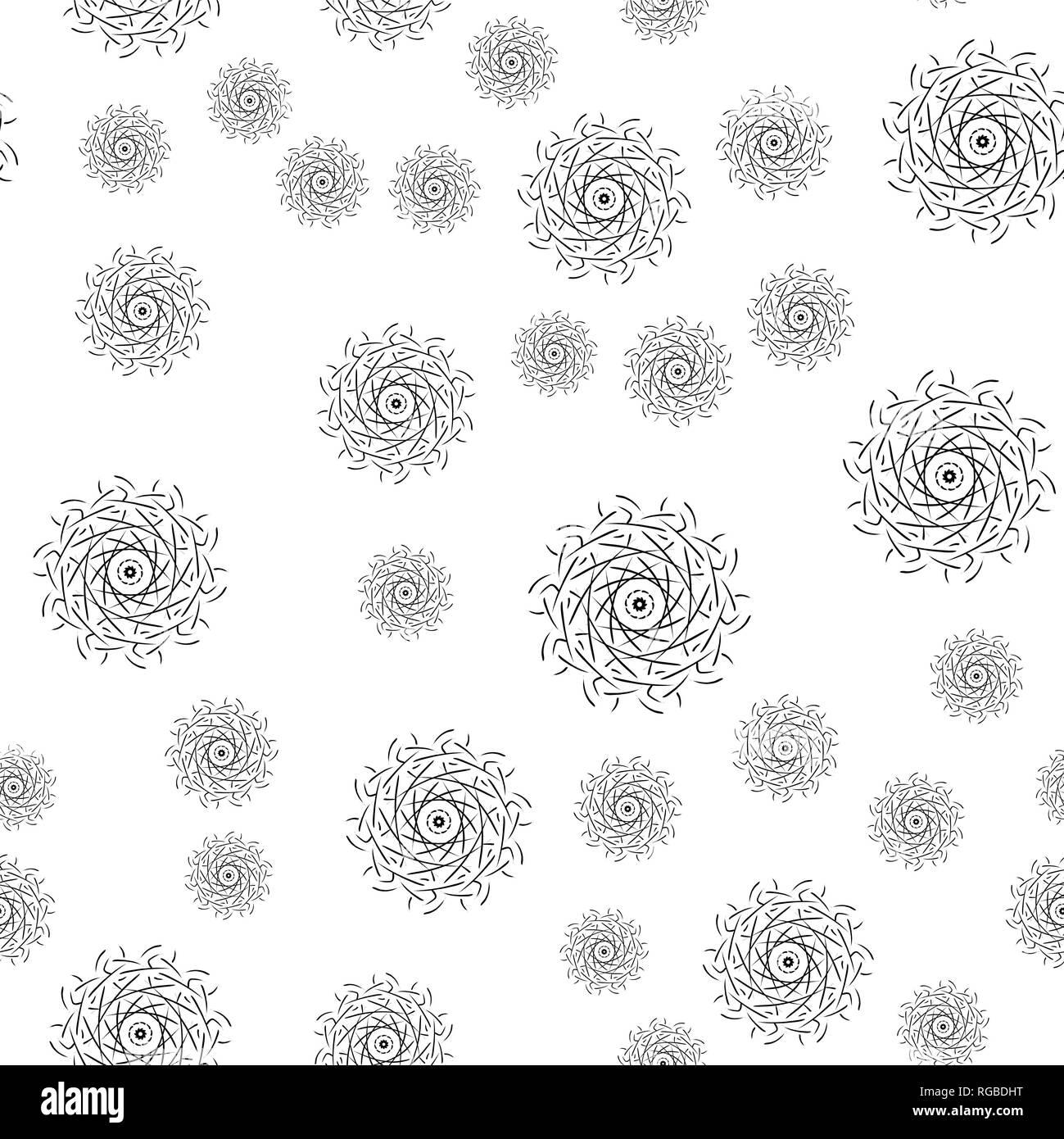 Mandala Nahtlose Muster Auf Weissem Hintergrund Malvorlagen Fur