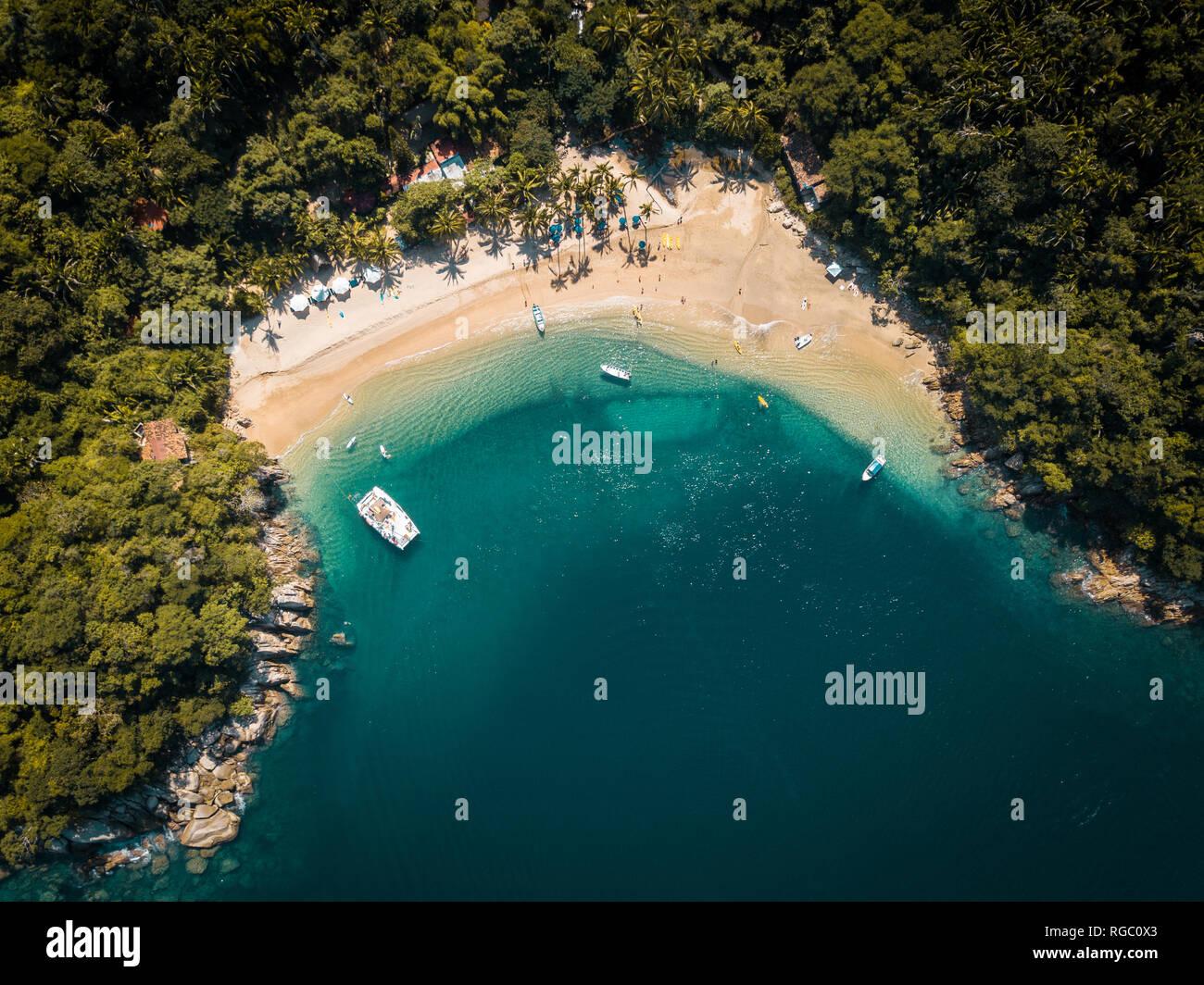 Mexiko, Jalisco, Südlich von Puerto Vallarta, Majahuitas Strand, Bucht von Banderas Stockbild
