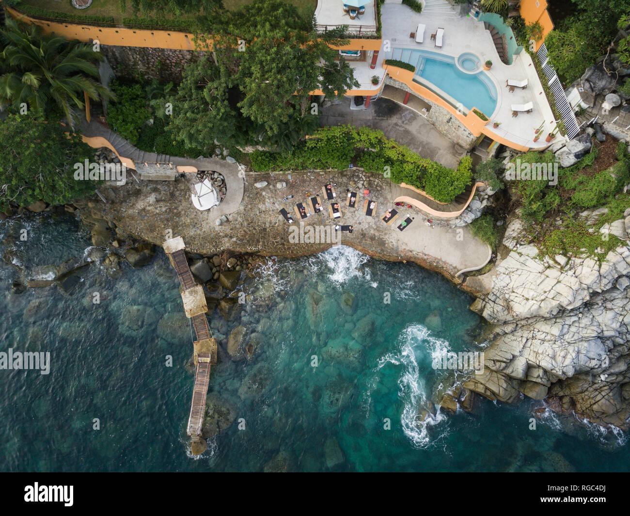 Mexiko, Jalisco, Mismaloya in der Nähe von Puerto Vallarta, luxuriöse Yoga Retreat Stockbild