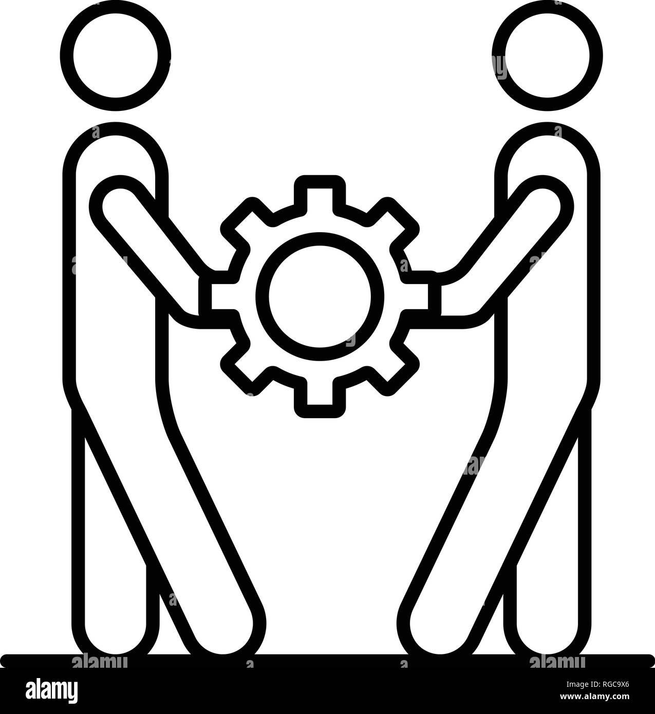 Menschen Zusammenhalt Symbol Outline Style Vektor Abbildung Bild