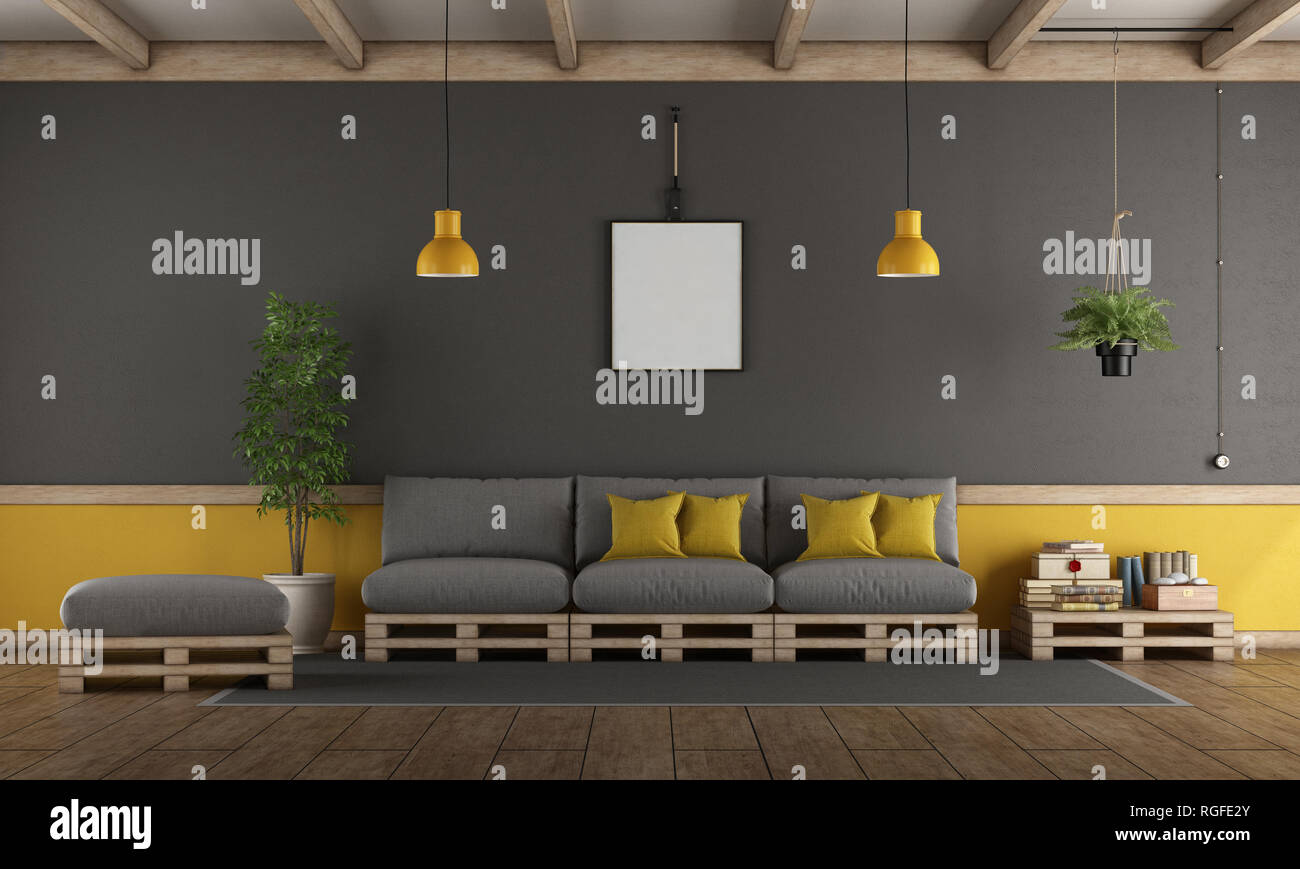 Grau und Gelb Wohnzimmer mit Sofa, Hocker und Beistelltisch - 3D ...