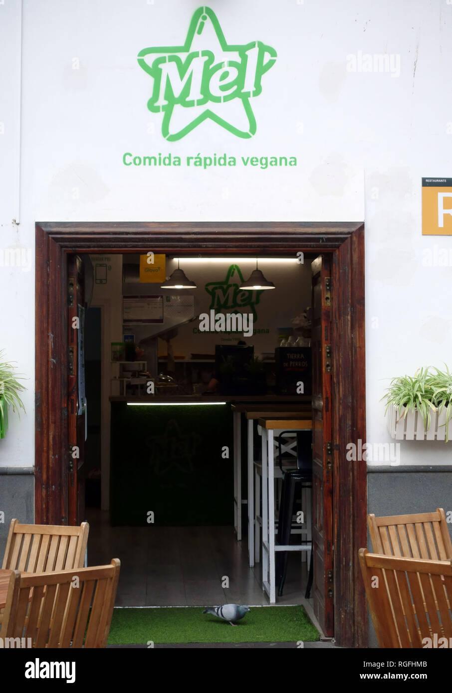 Vegane Fast-Food-Restaurant in La Laguna, Teneriffa, Spanien Stockbild