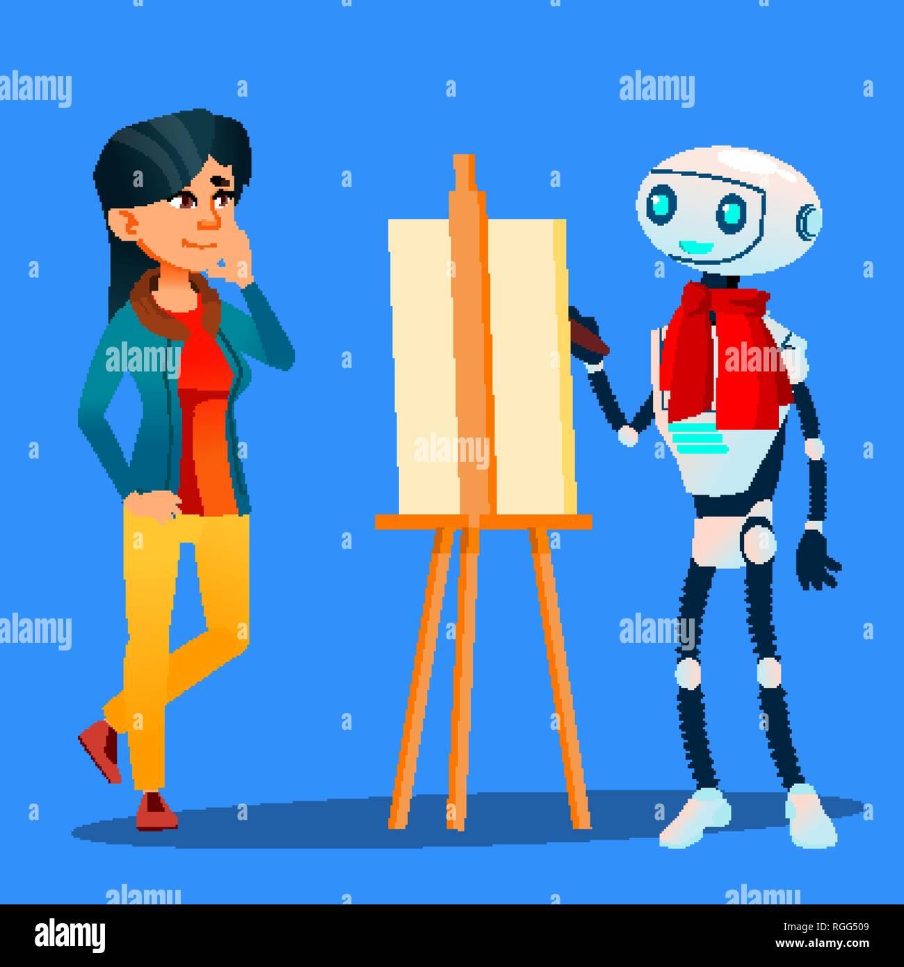 Roboter Künstler Malt Auf Staffelei Portrait Von Frau Vektor