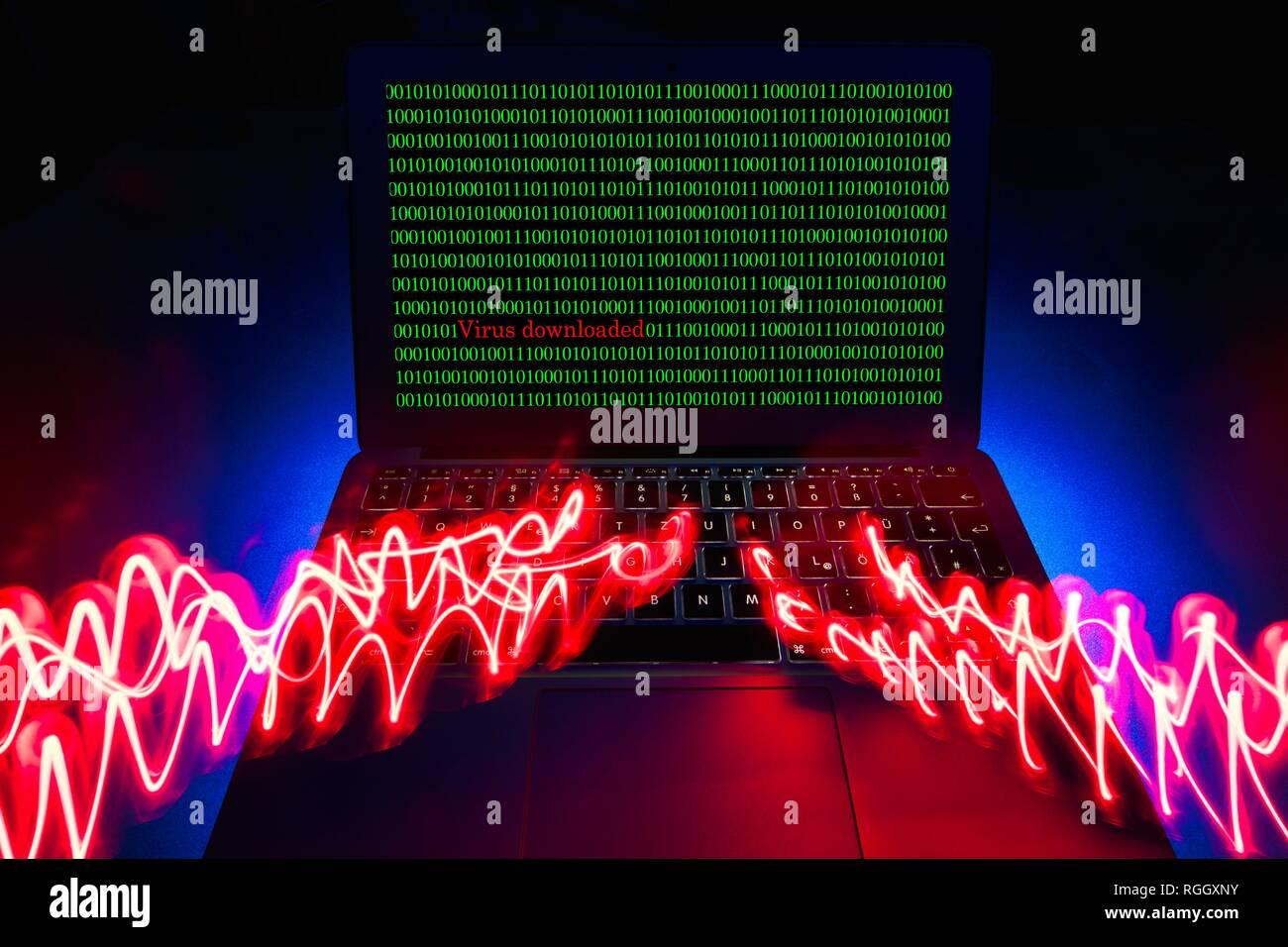 Symbol Bild malware, Virus Alarm, Computerkriminalität, Datenschutz, Baden-Württemberg, Deutschland Stockbild