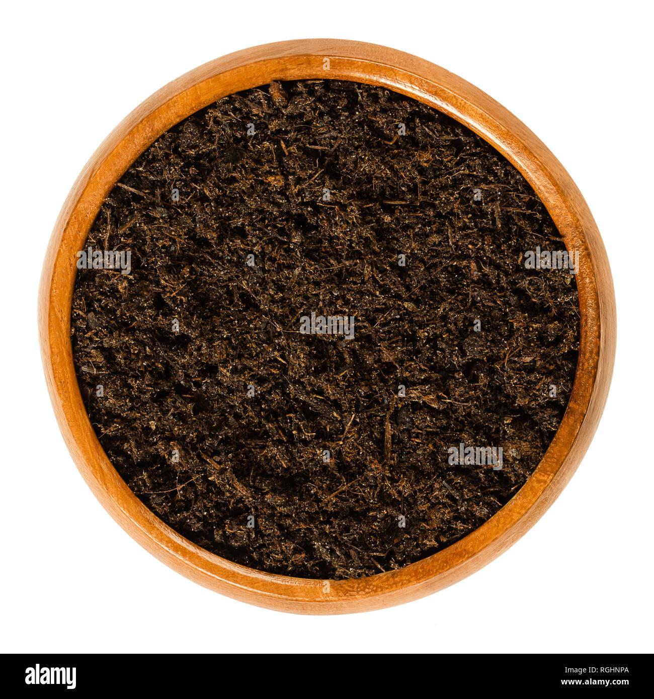Blumenerde mit Torf in Houten. Topfen mischen oder Kompost mit den meisten, gängigen Zutaten Torf, Rinde, Sand und Perlite. Stockfoto