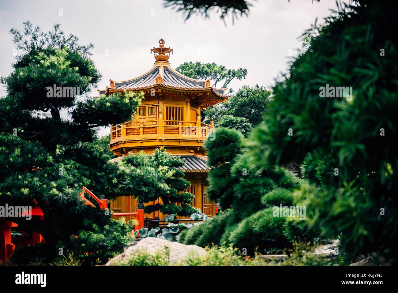 China, Hongkong, Diamond Hill, Nan Lian Garden, goldenen Pavillon der Absolute Perfektion Stockbild