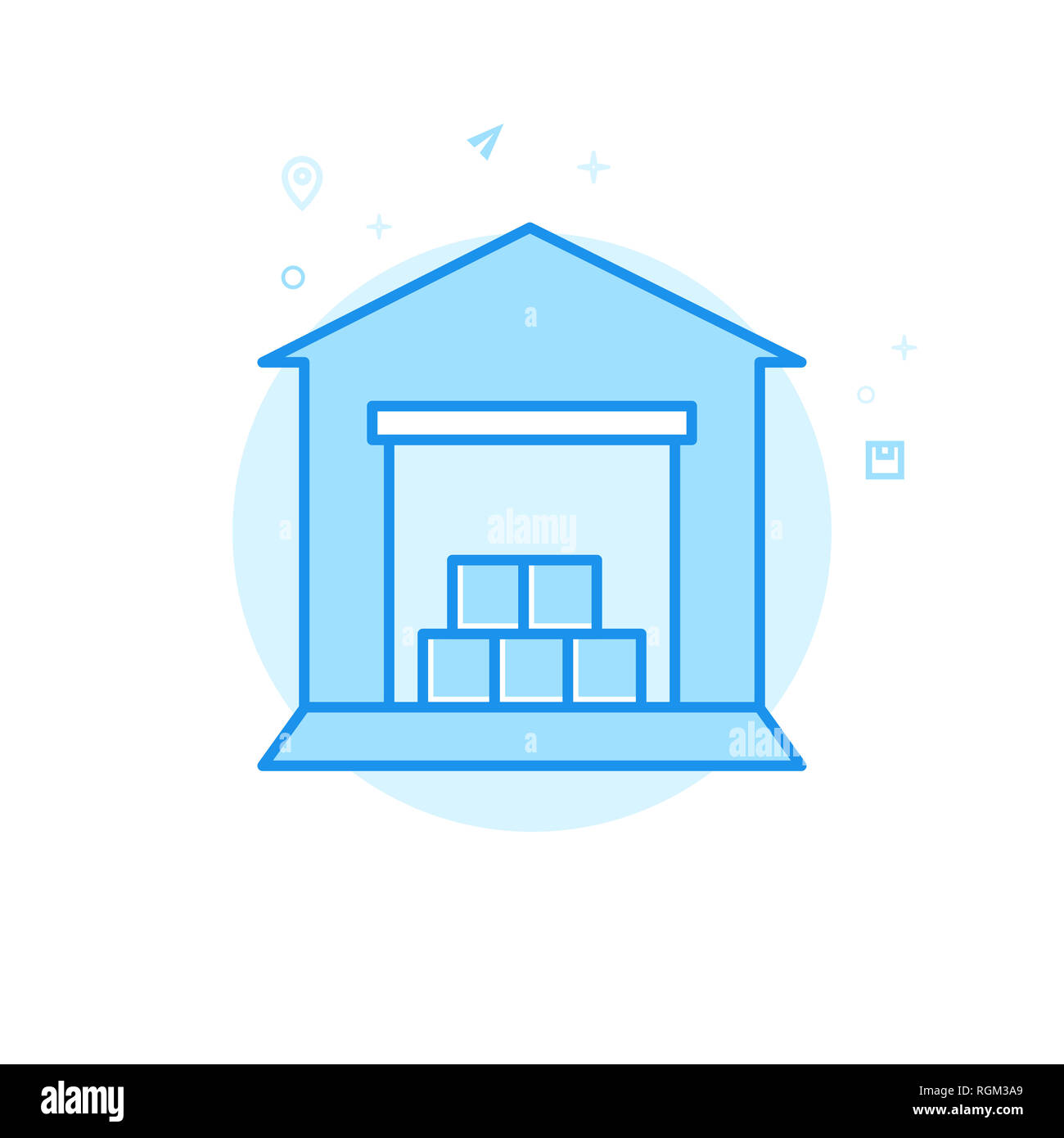 lager flachbild symbol lager und logistik symbol piktogramm sign licht flat style blue. Black Bedroom Furniture Sets. Home Design Ideas