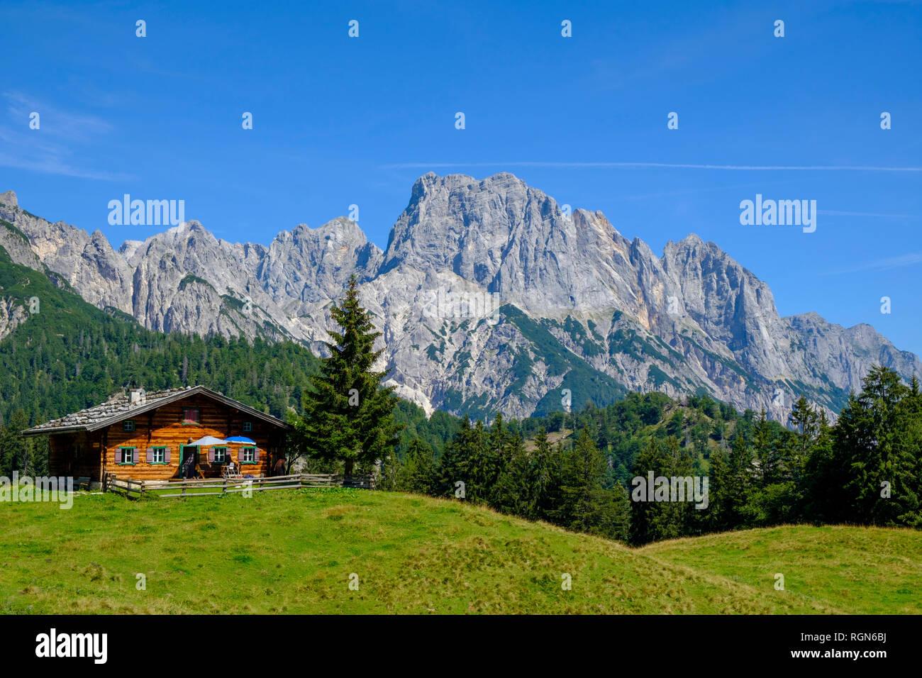 Österreich, Salzburg, Pinzgau, großen Muehlsturzhorn, Litzlalm, Gramlerkaser Mountain Inn Stockbild