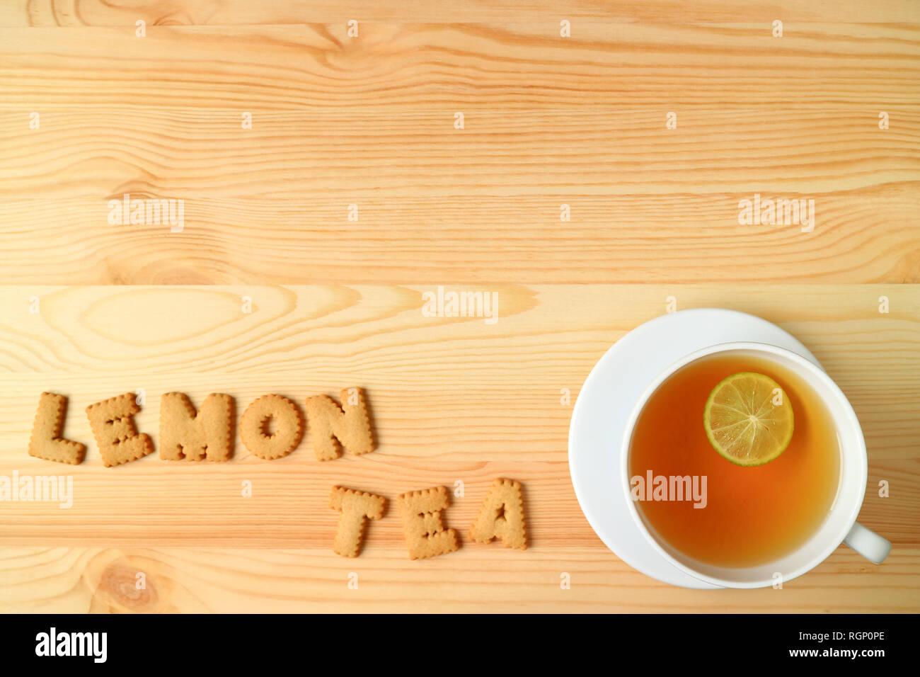 Heiße Zitrone Tee Mit Dem Wort Zitrone Tee Rechtschreibung Mit