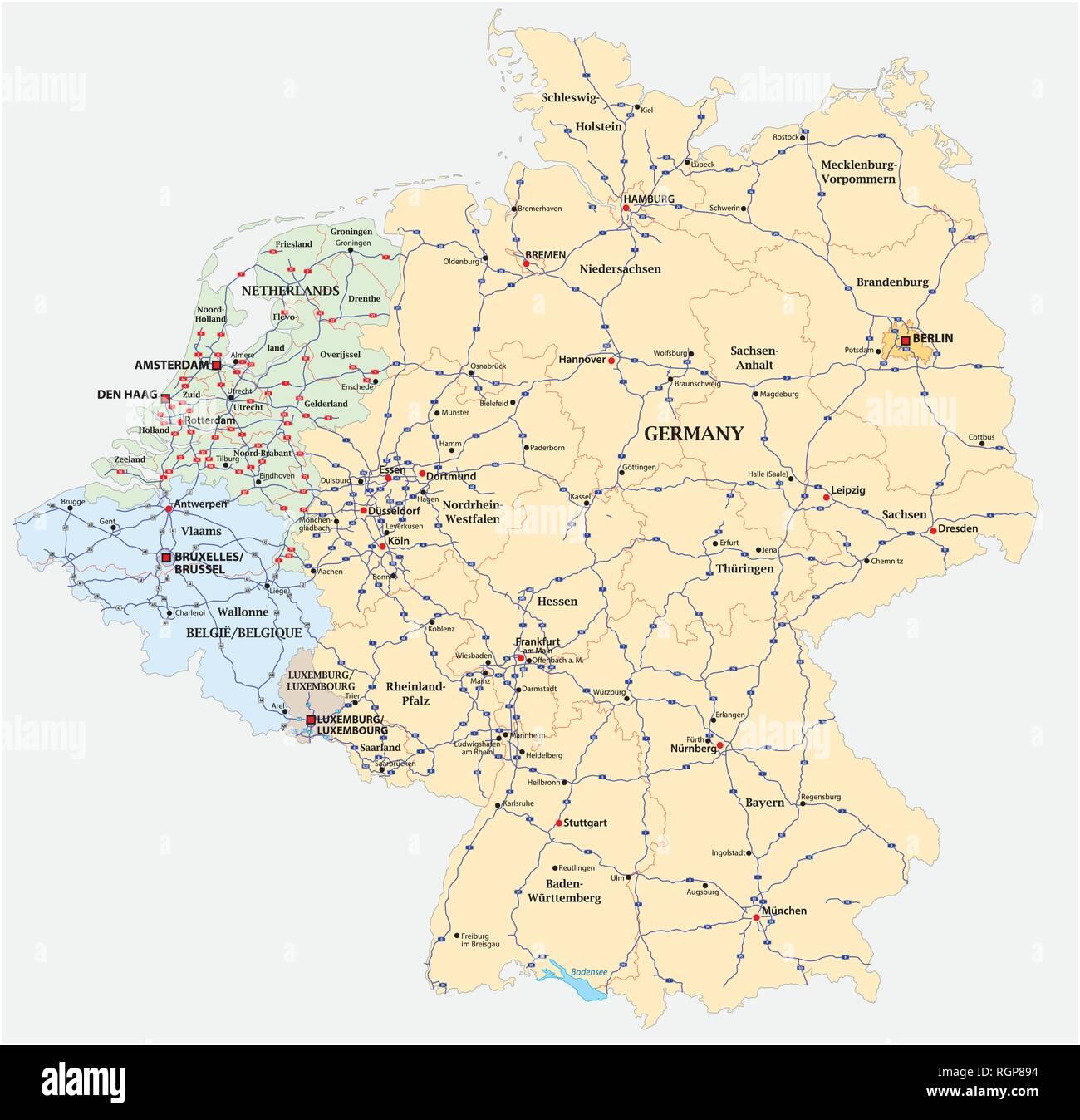 karte benelux deutschland Autobahn Vektor Karte von Deutschland und die Benelux Staaten