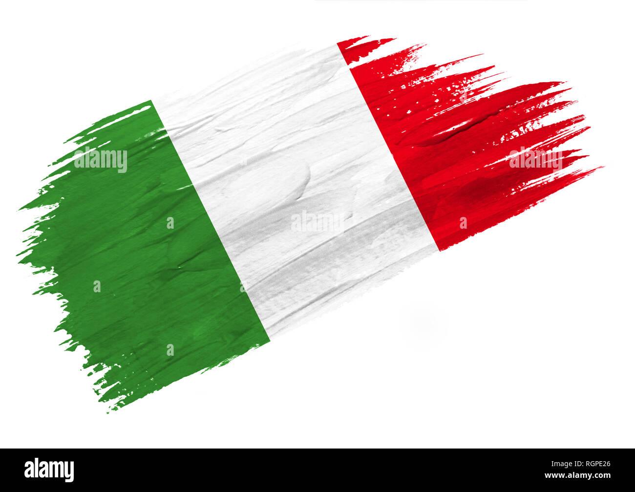 Gemalt Italien Flagge. Hand stil Abbildung gezeichnet ...