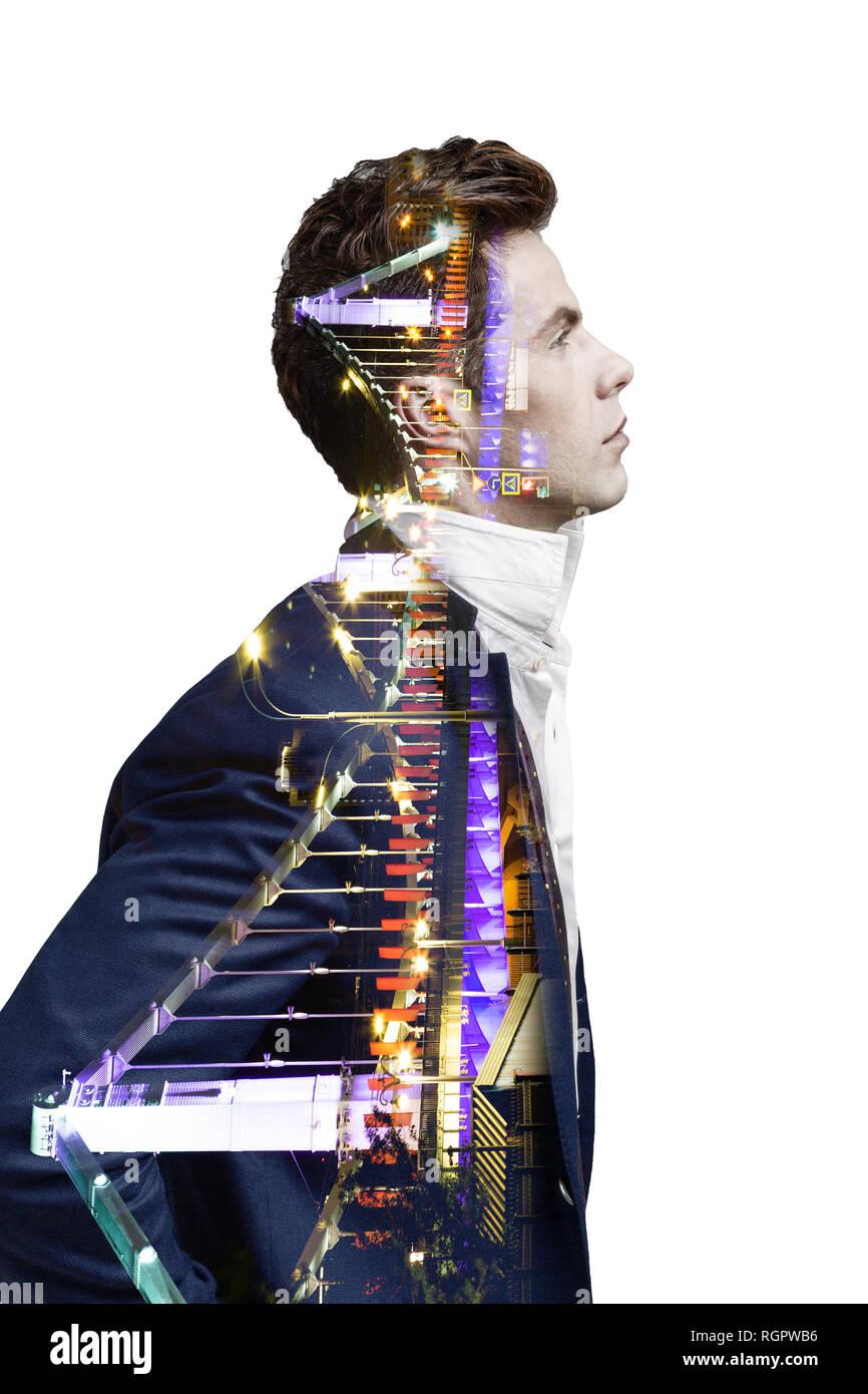 Double Exposure Effekt von Mann und Panoramablick auf die moderne Skyline der Stadt. Business Konzept, Information, Kommunikation, Anschlusstechnik. Stockfoto