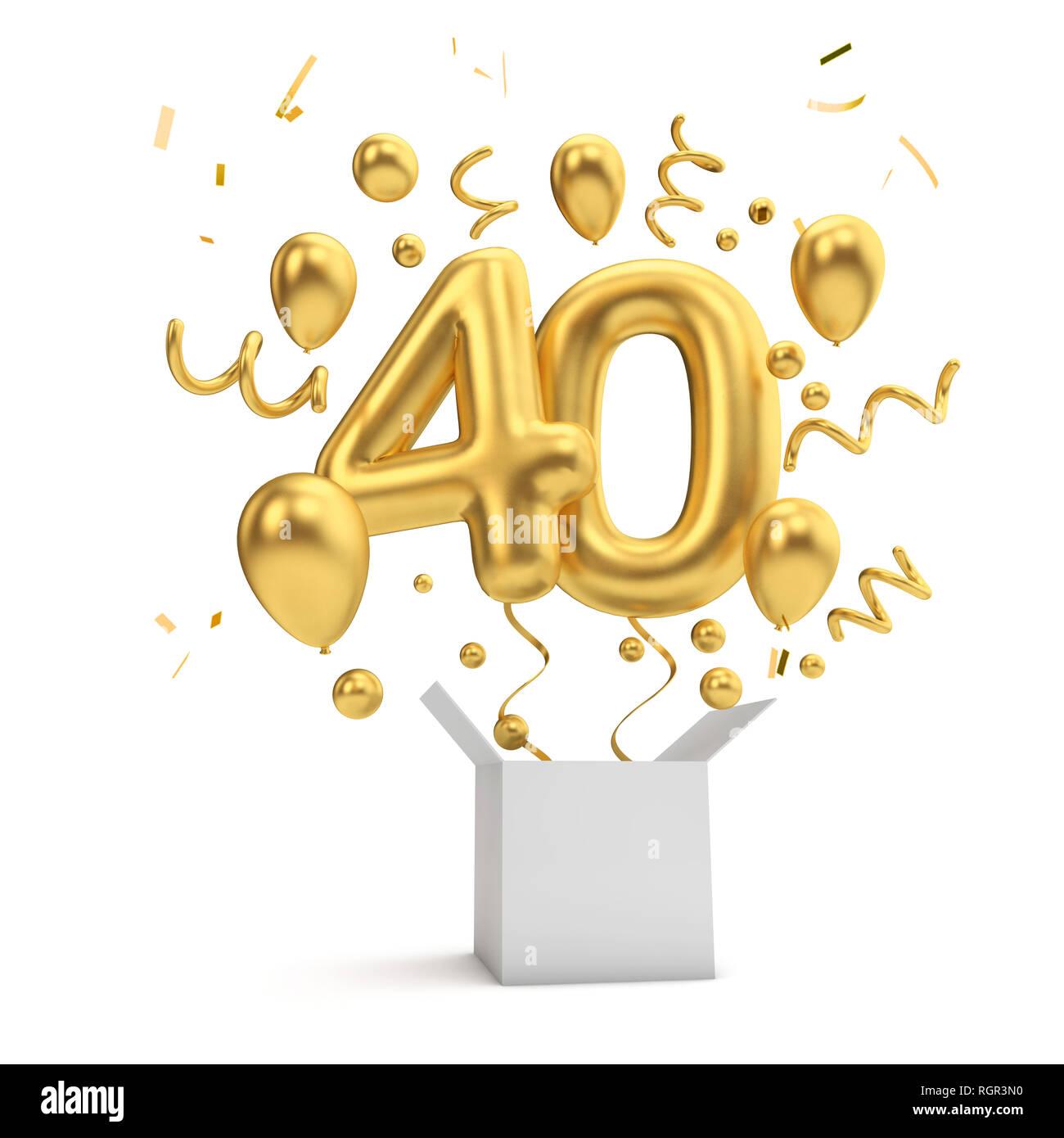 Happy 40th Birthday Gold Uberraschung Ballon Und Box 3D Rendering