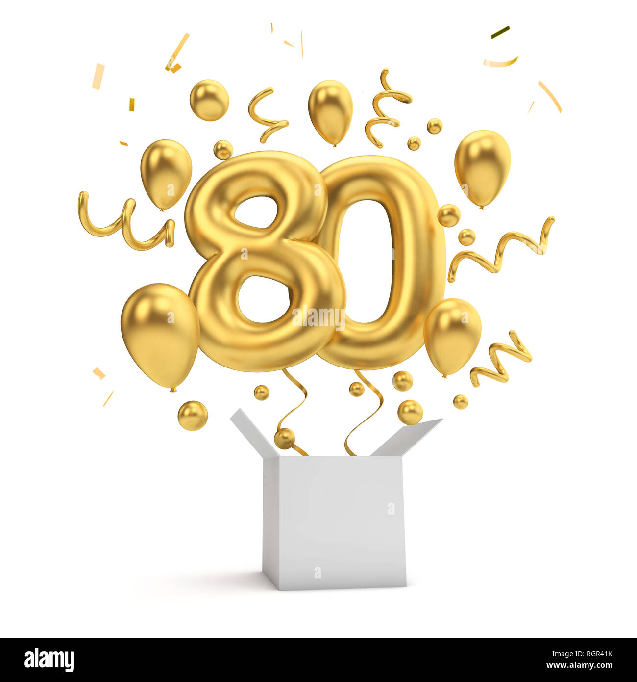 Happy 80th Birthday Gold Uberraschung Ballon Und Box 3D Rendering