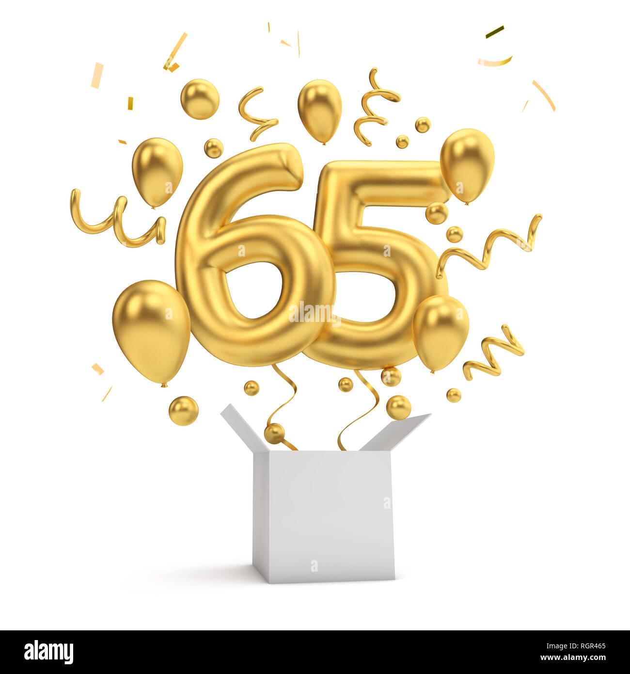 Happy 65th Birthday Gold Uberraschung Ballon Und Box 3D Rendering