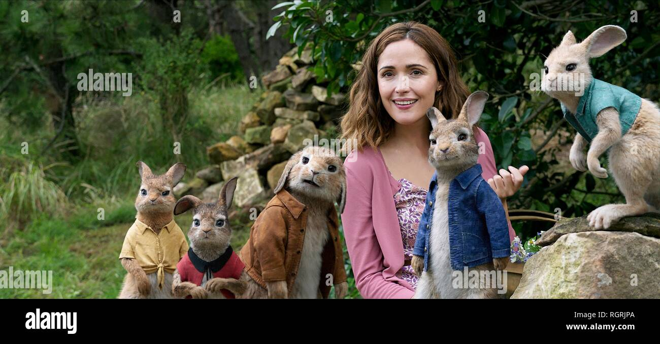 ROSE BYRNE & Peter Peter Hase (2018) Stockbild